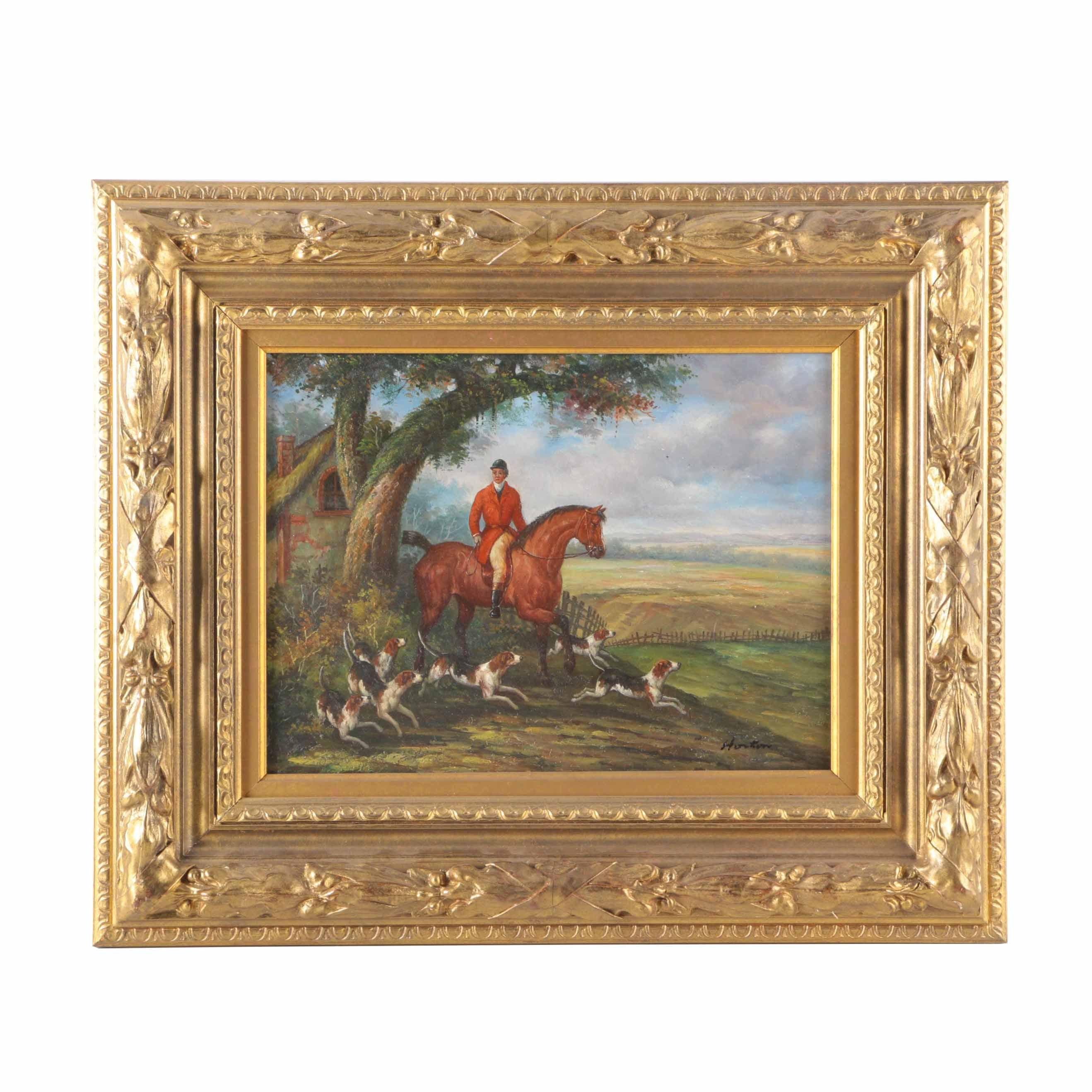 Horton Oil Painting on Board Hunting Scene