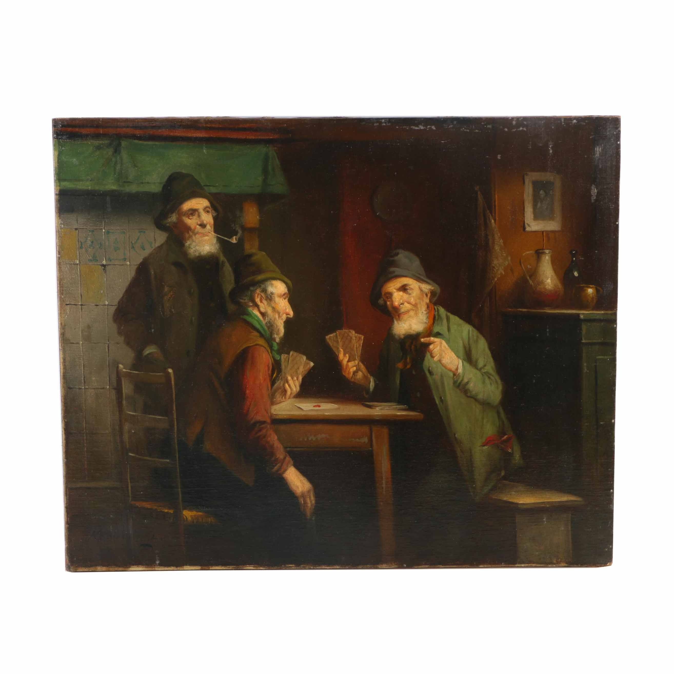 Interior Oil on Canvas Genre Scene of a Card Game