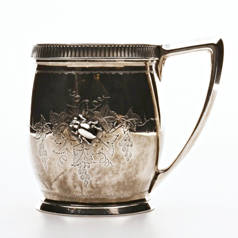 1880s Gorham Aesthetic Period Sterling Silver Mug with Beetle