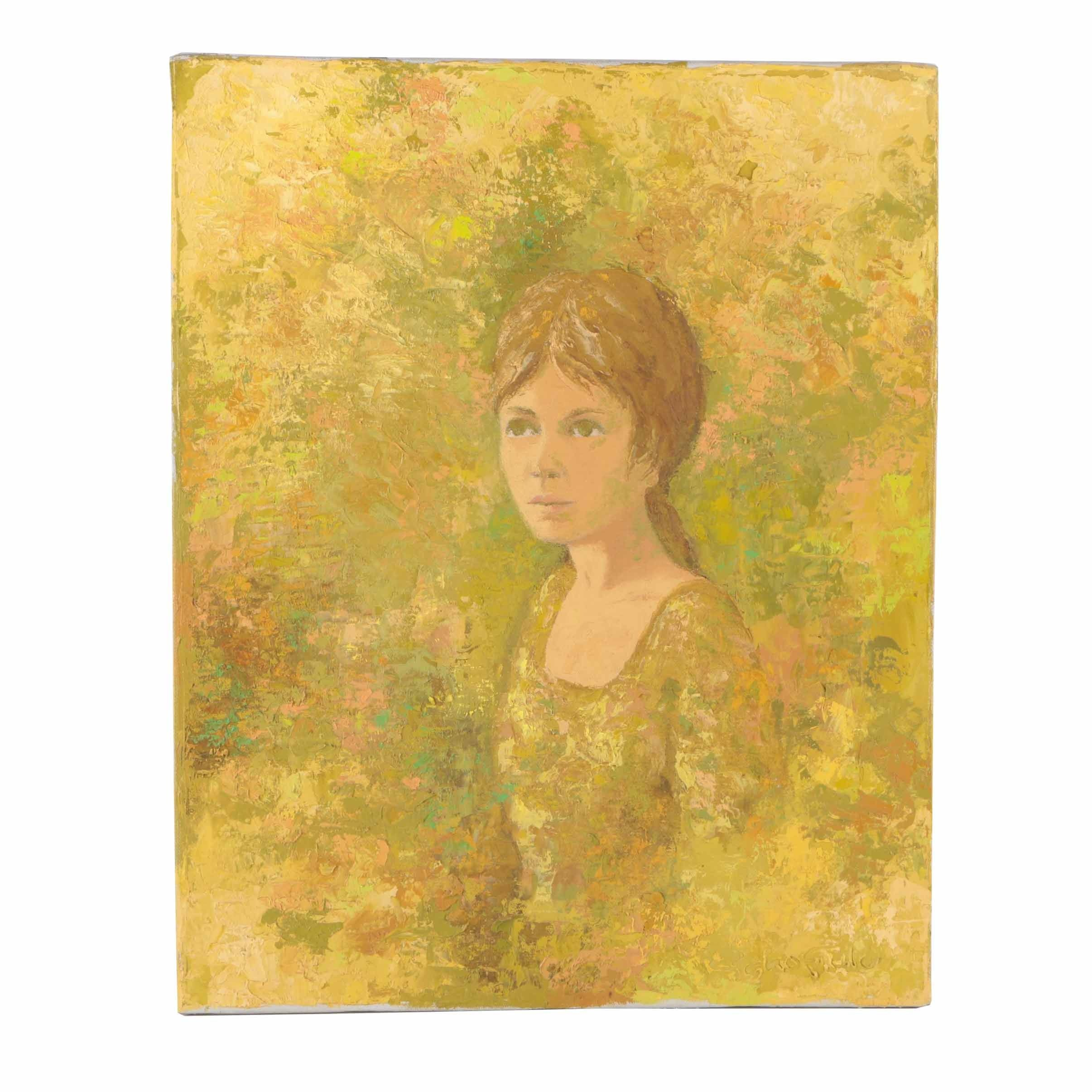 Signed Modernist Oil Painting Of Woman by Peter Schofield