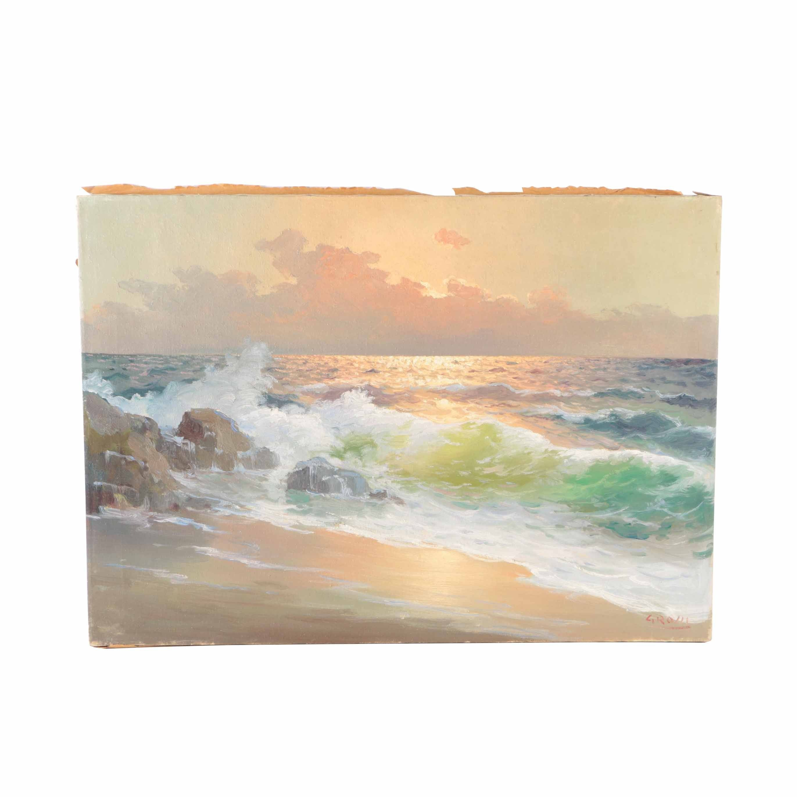 Giuseppe Rossi Oil Painting on Canvas Seascape