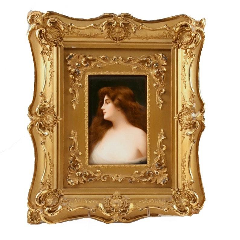 "Antique Hutschenreuther Porcelain Portrait Signed ""Wagner"""