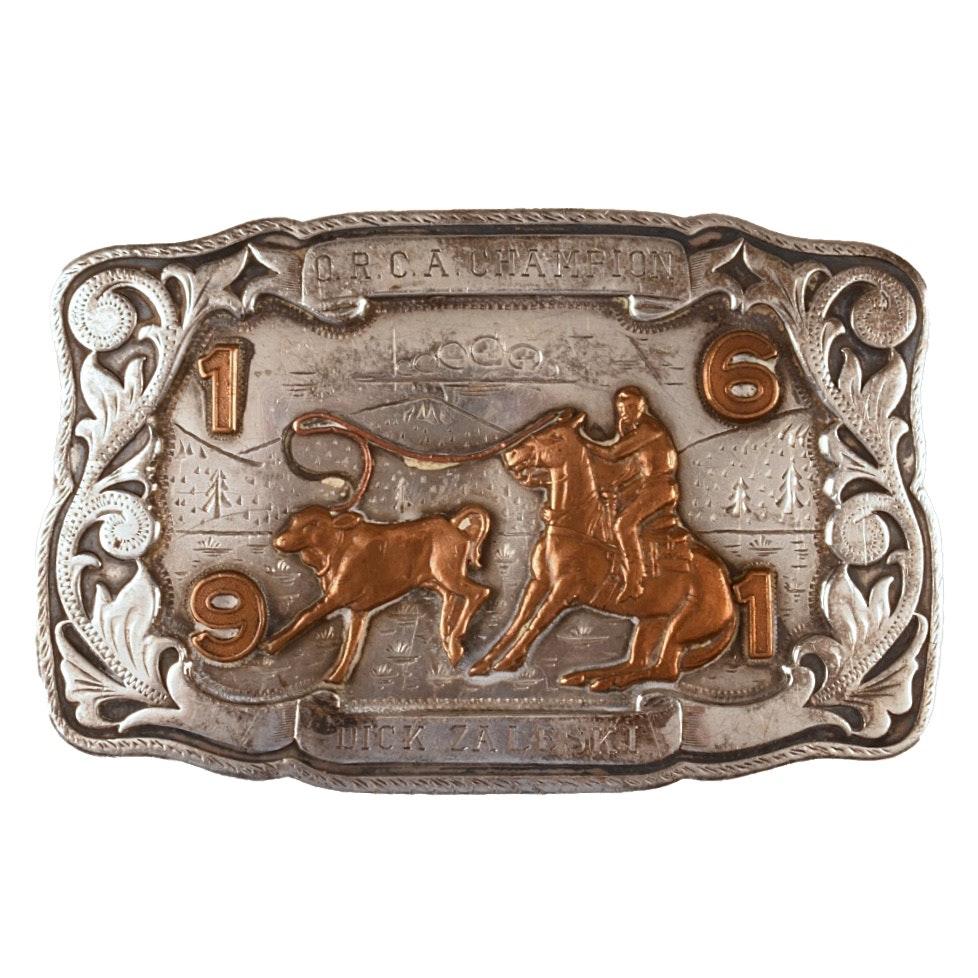 Vintage 1962 Sterling Silver Irvine & Jachens Rodeo Trophy Buckle
