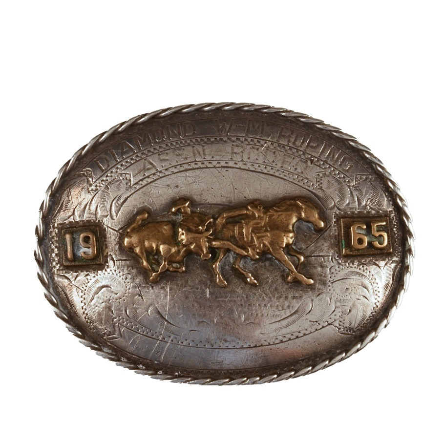 Vintage 1965 Sterling and Brass Rodeo Buckle