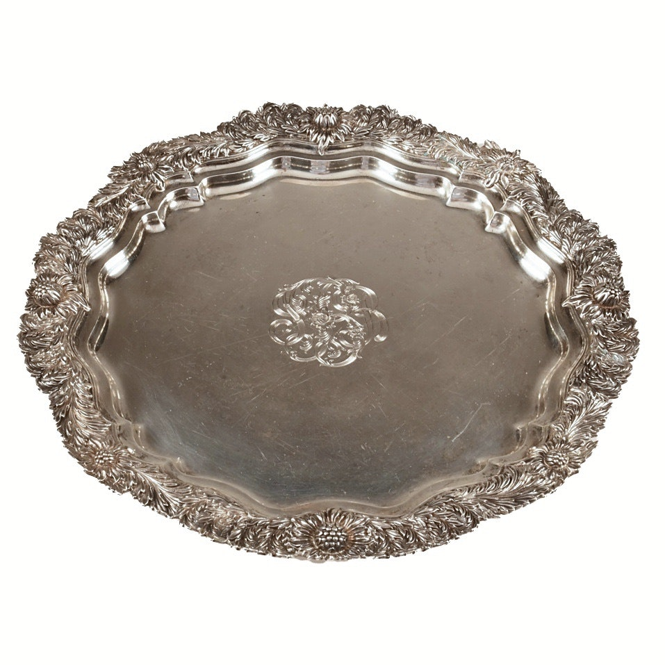 Antique Tiffany & Co. Chrysanthemum Sterling Silver Tray