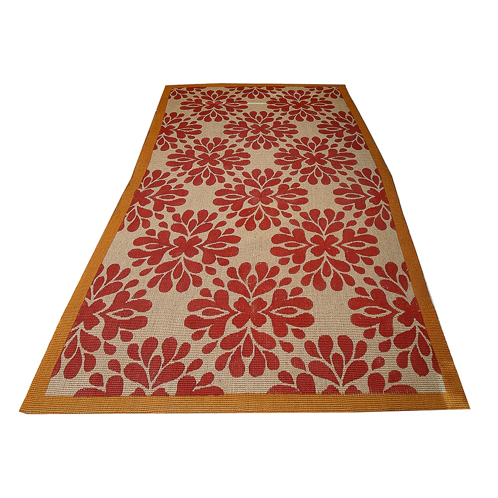 Power Loomed Flat Weave Floral Fiber Rug