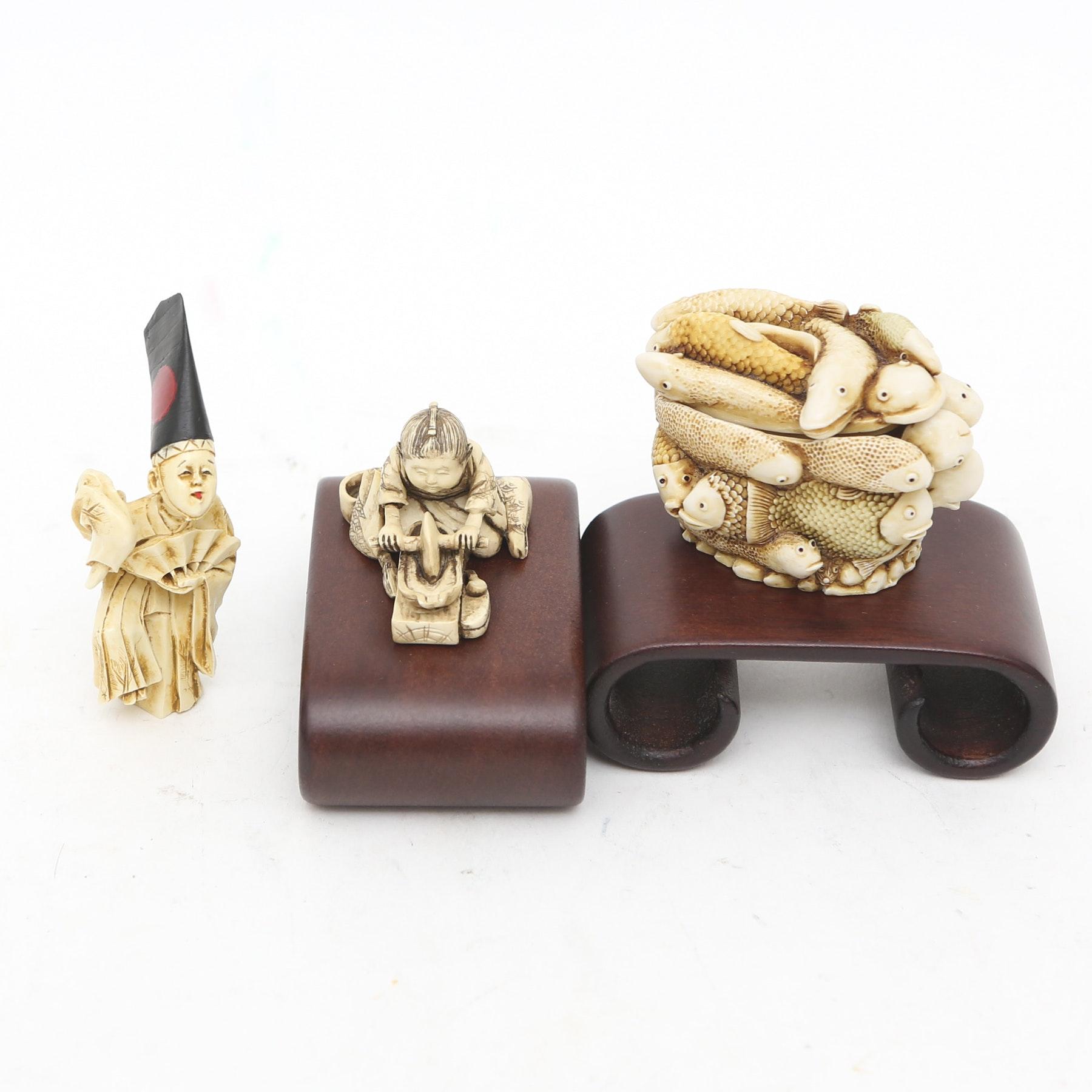 Netsuke-Style Figures with Trinket Box