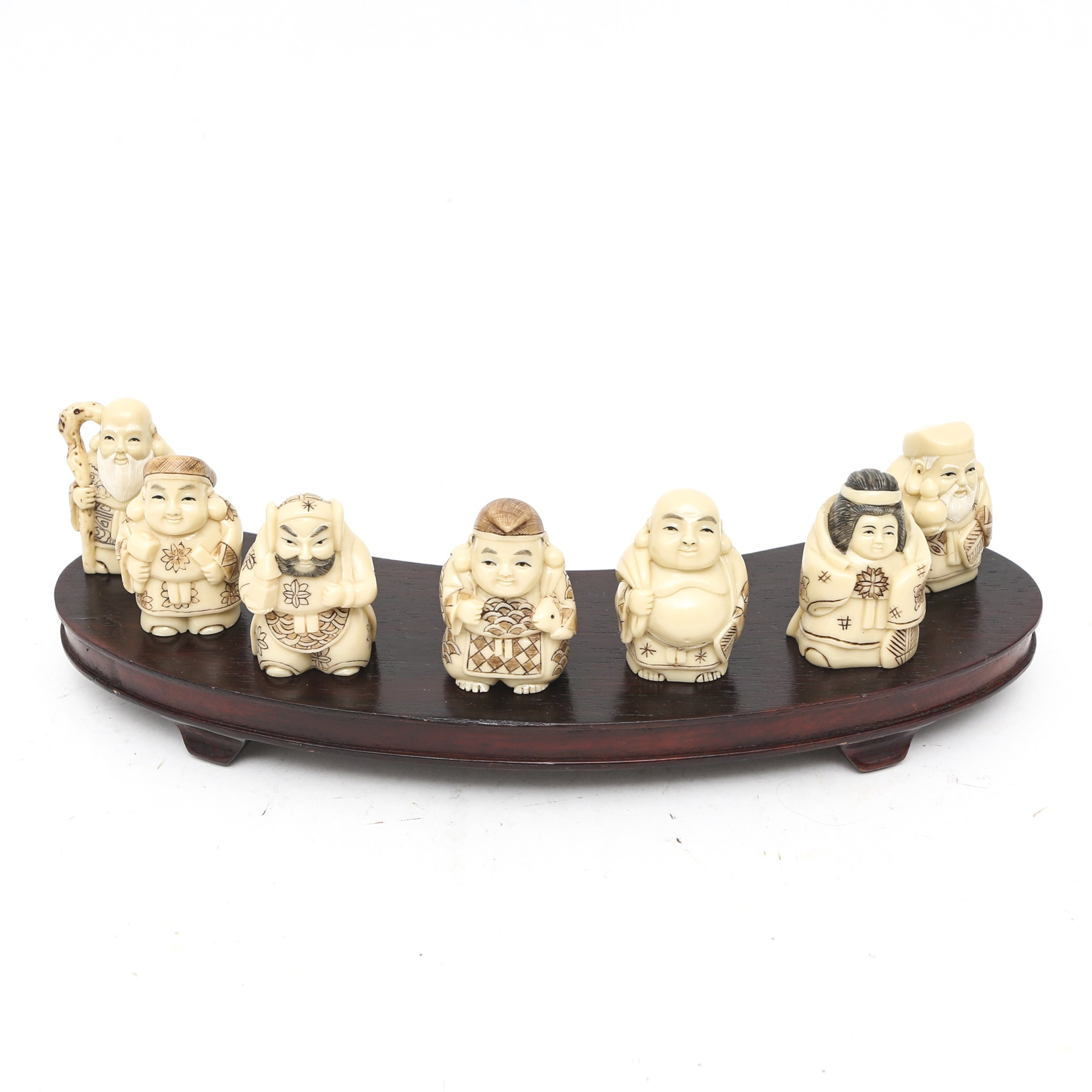 Netsuke-Style Figurines with Wooden Stand