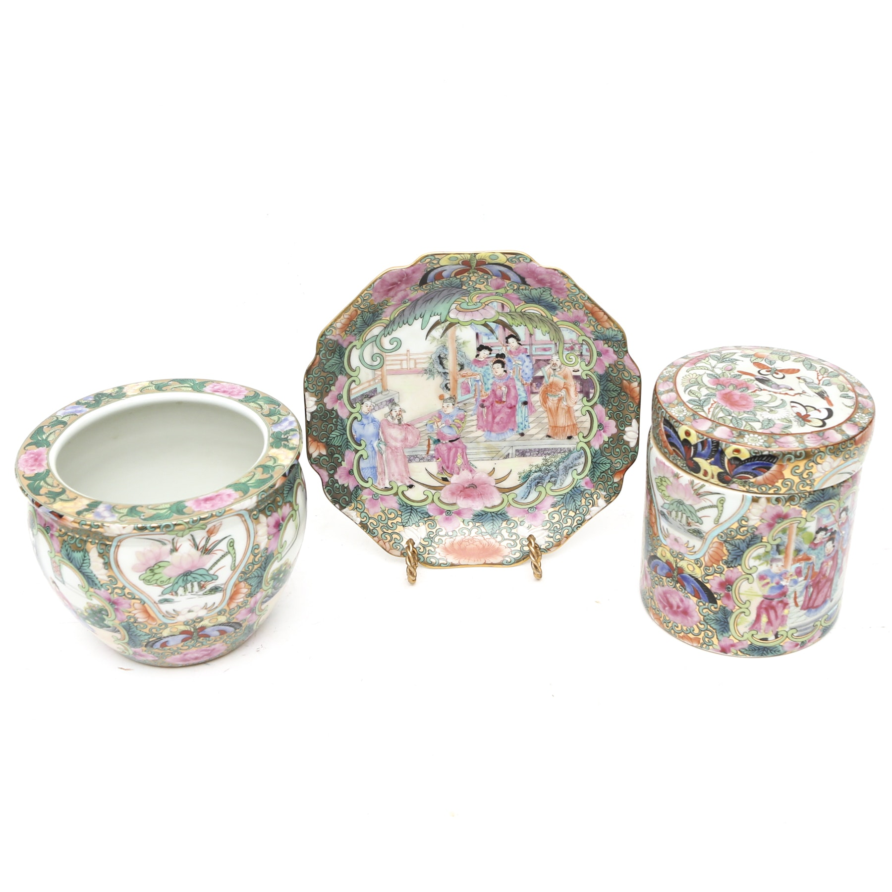 Chinese Plate, Vase and Lidded Jar