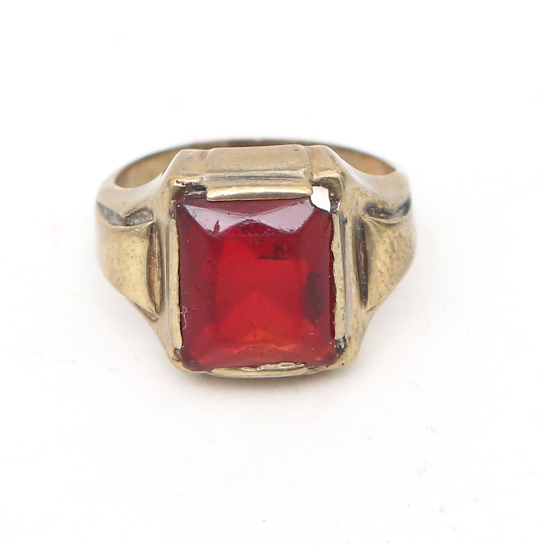 10K Gold Ring with Synthetic Red Stone