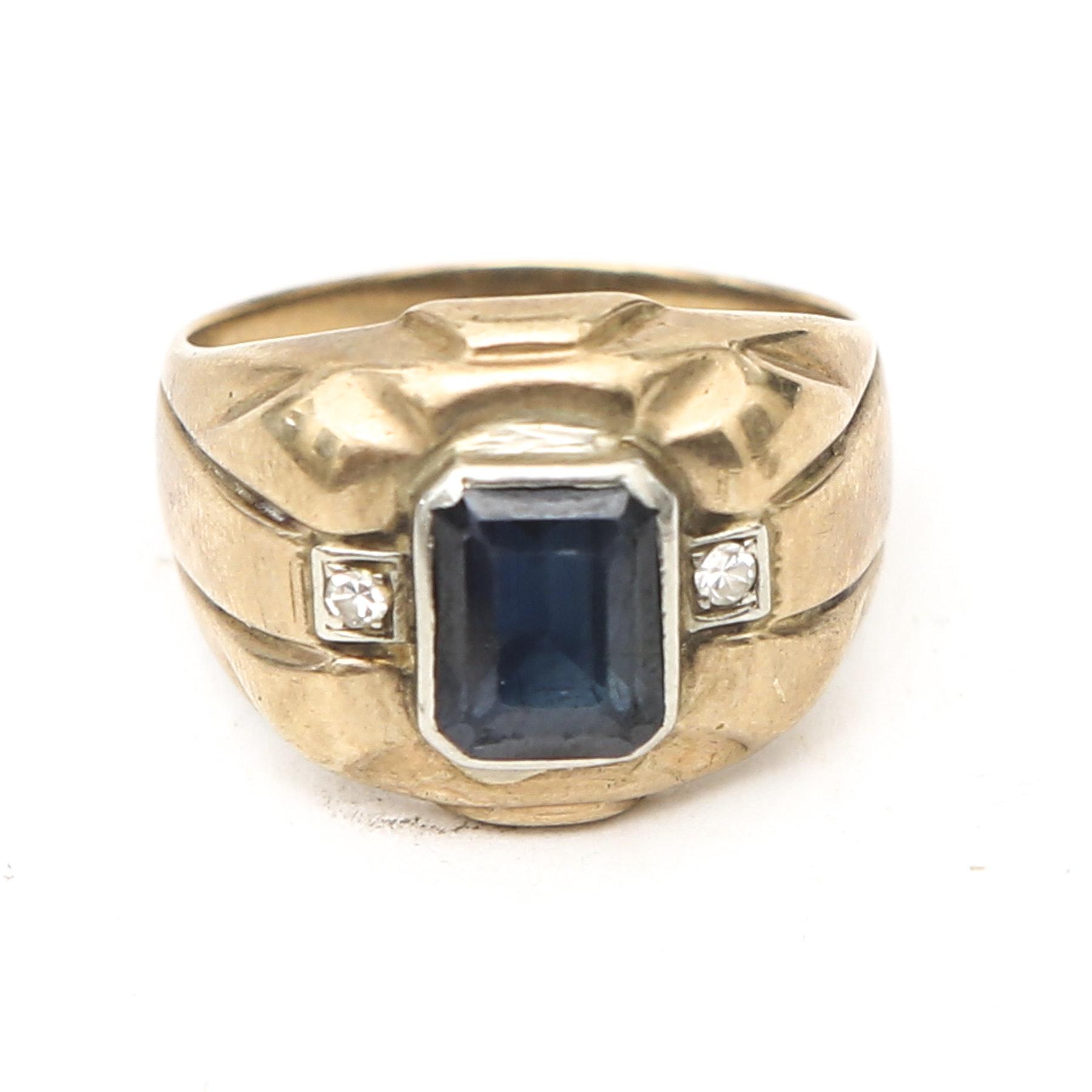 10K Blue Sapphire and Diamond Ring