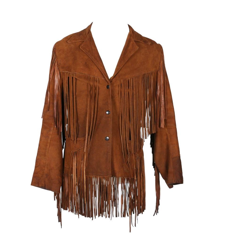 Vintage Brown Suede Fringe Jacket by Joo Kay