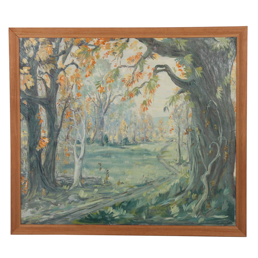 Large Oil Painting in Tonal Palette Illustrating Fall Landscape