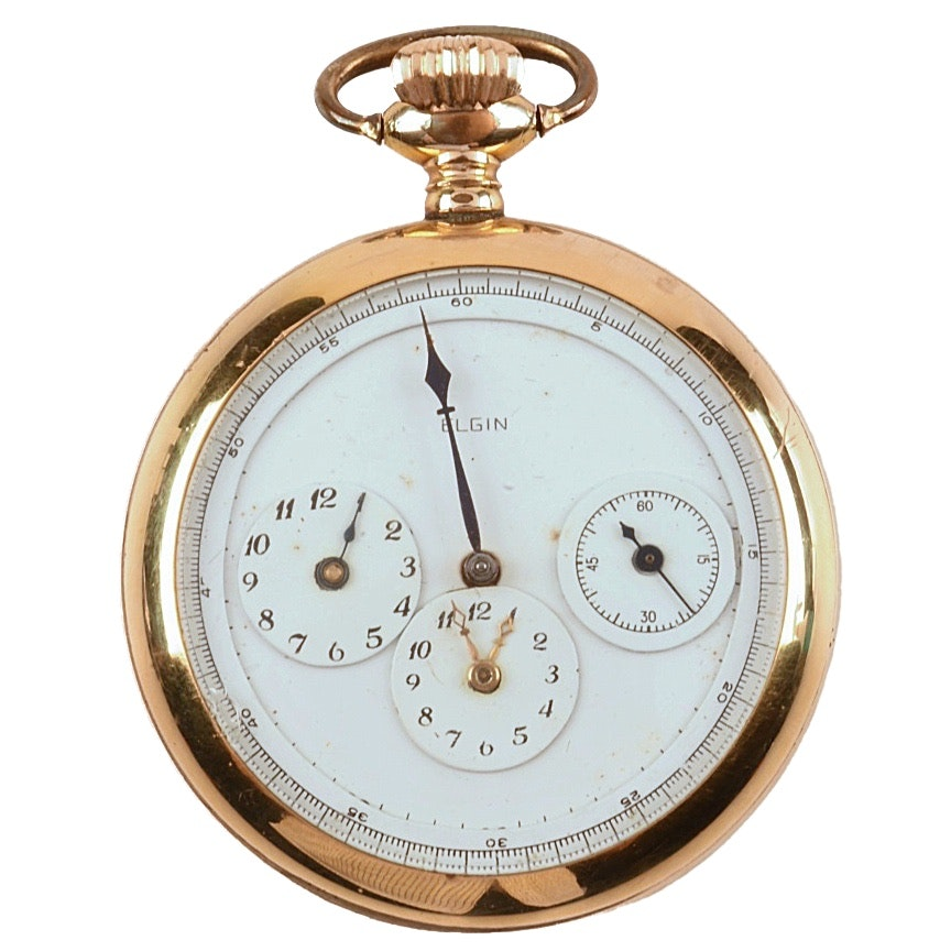 Circa 1883 Gold Plated Elgin Pocket Watch with Unusual Dial