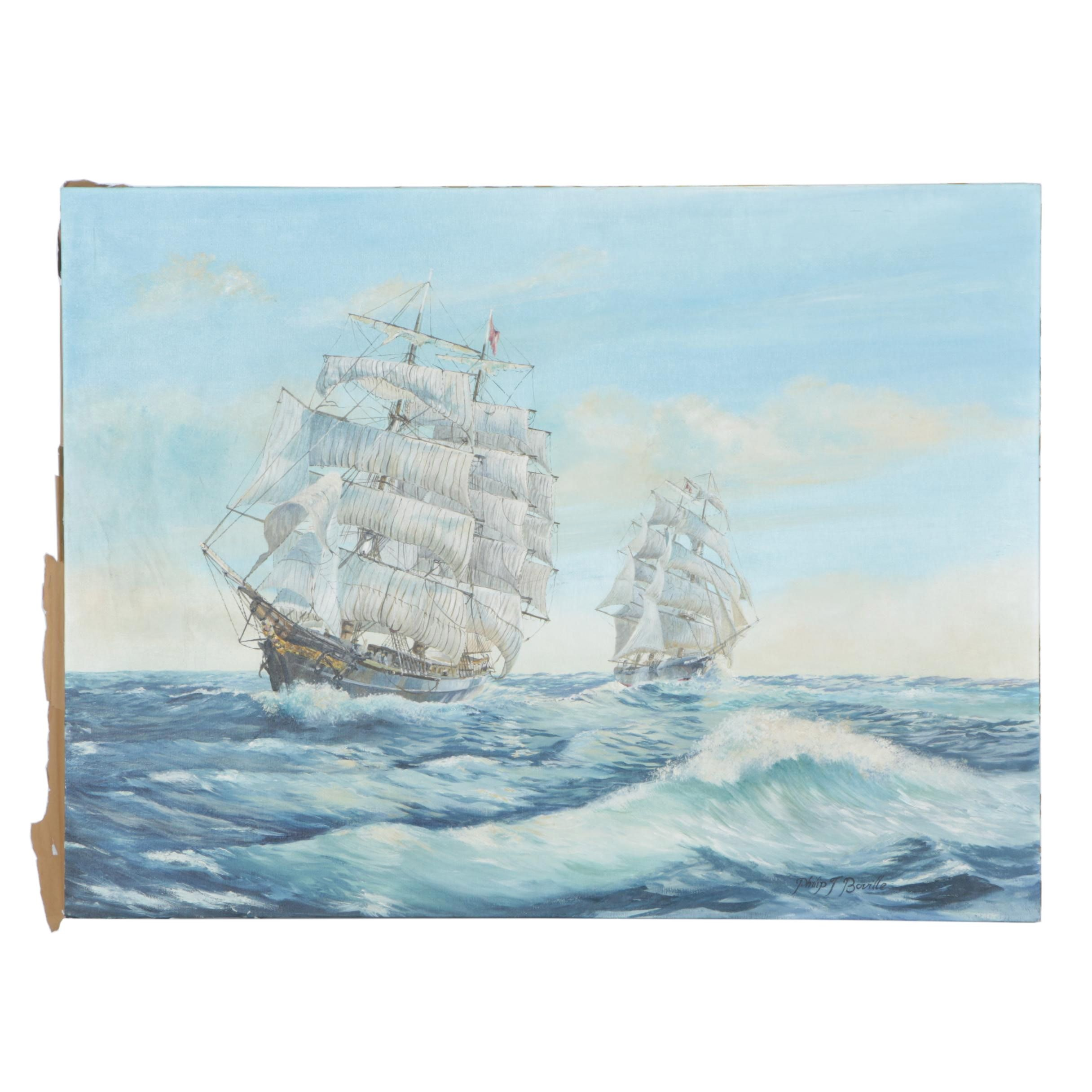 """Philip John Boville Oil Painting on Canvas """"Sailing Ships"""""""