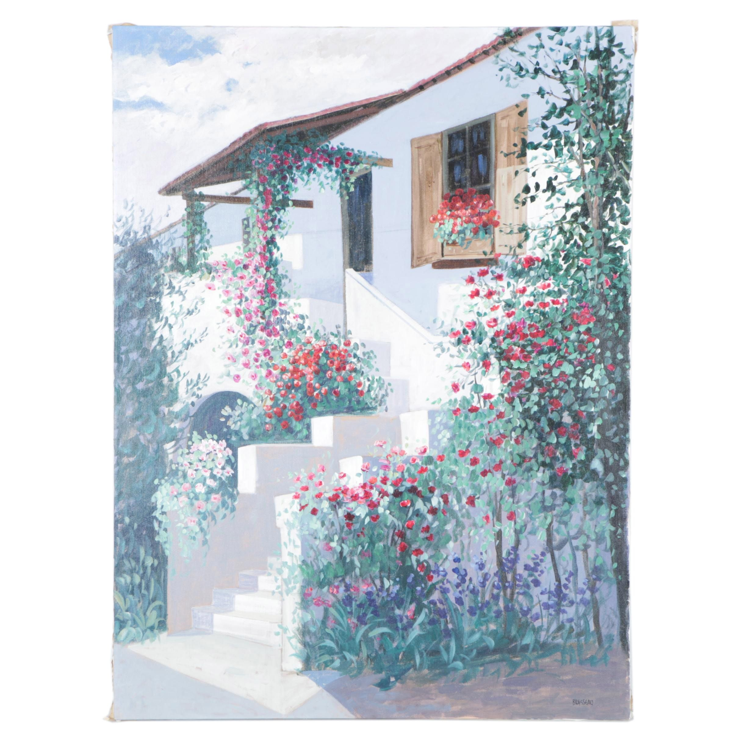 Brasseau Oil Painting on Canvas White House with Flowers