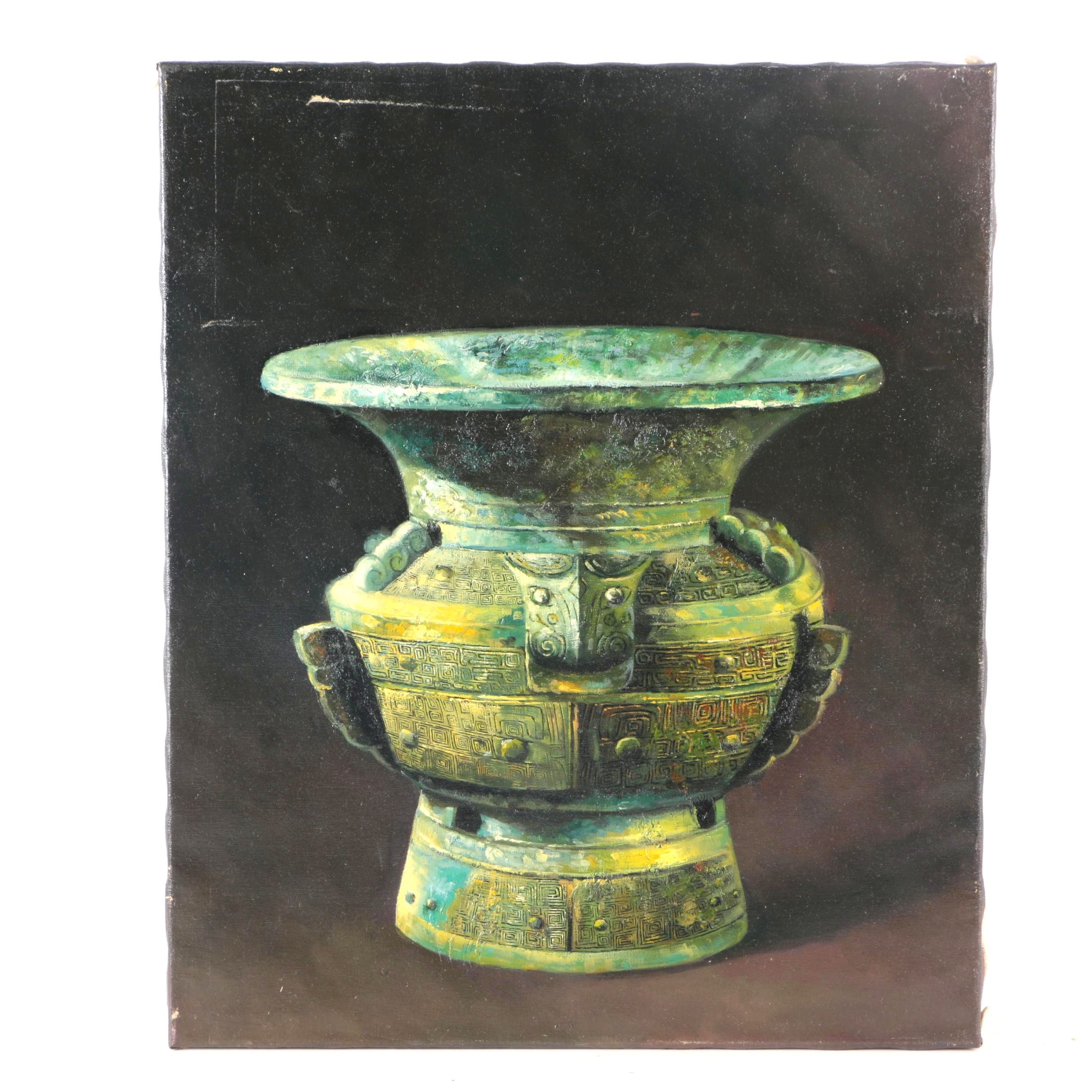 Original Oil Painting Of Shang Dynasty Inspired Vase