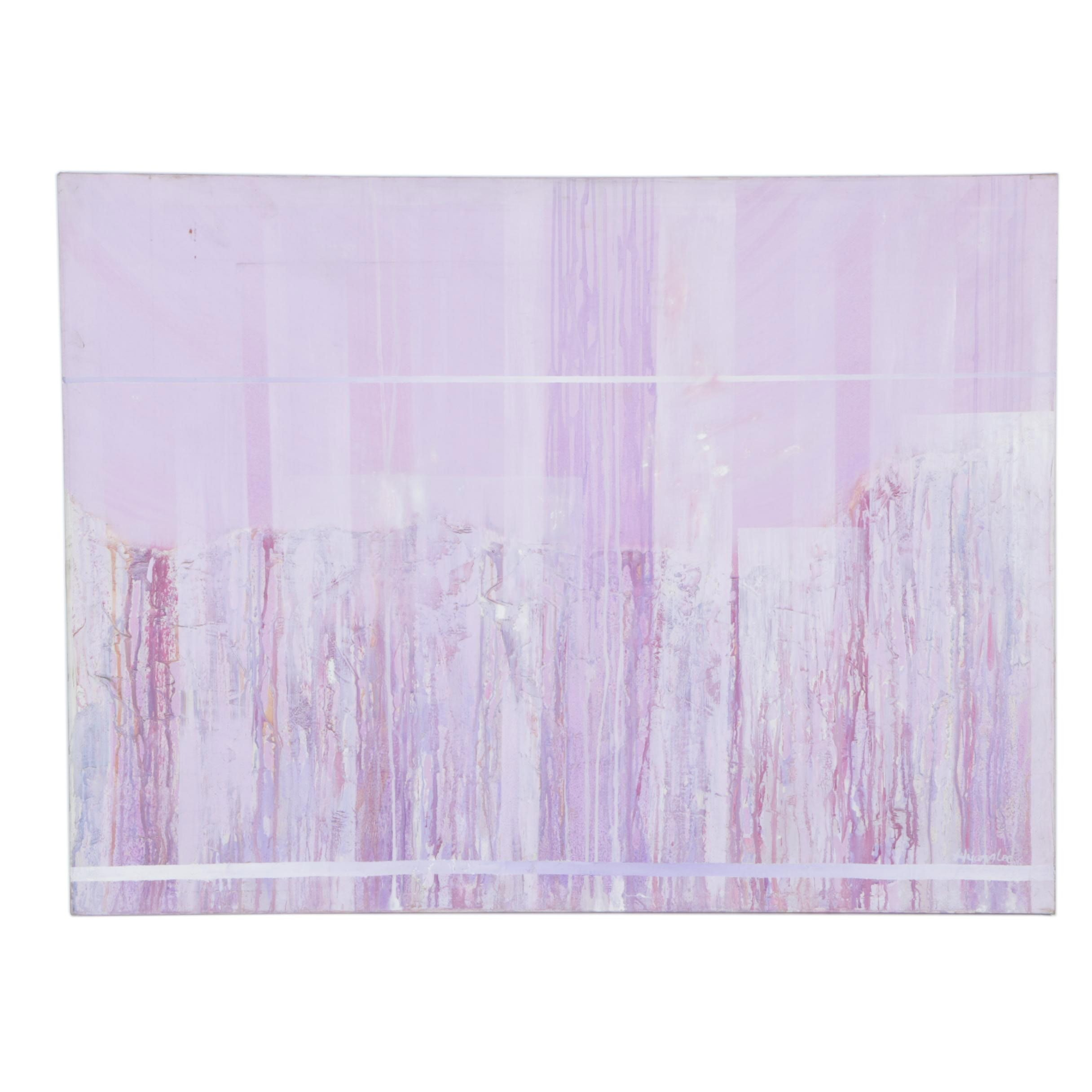 Purple Oil Abstract Painting on Canvas Board