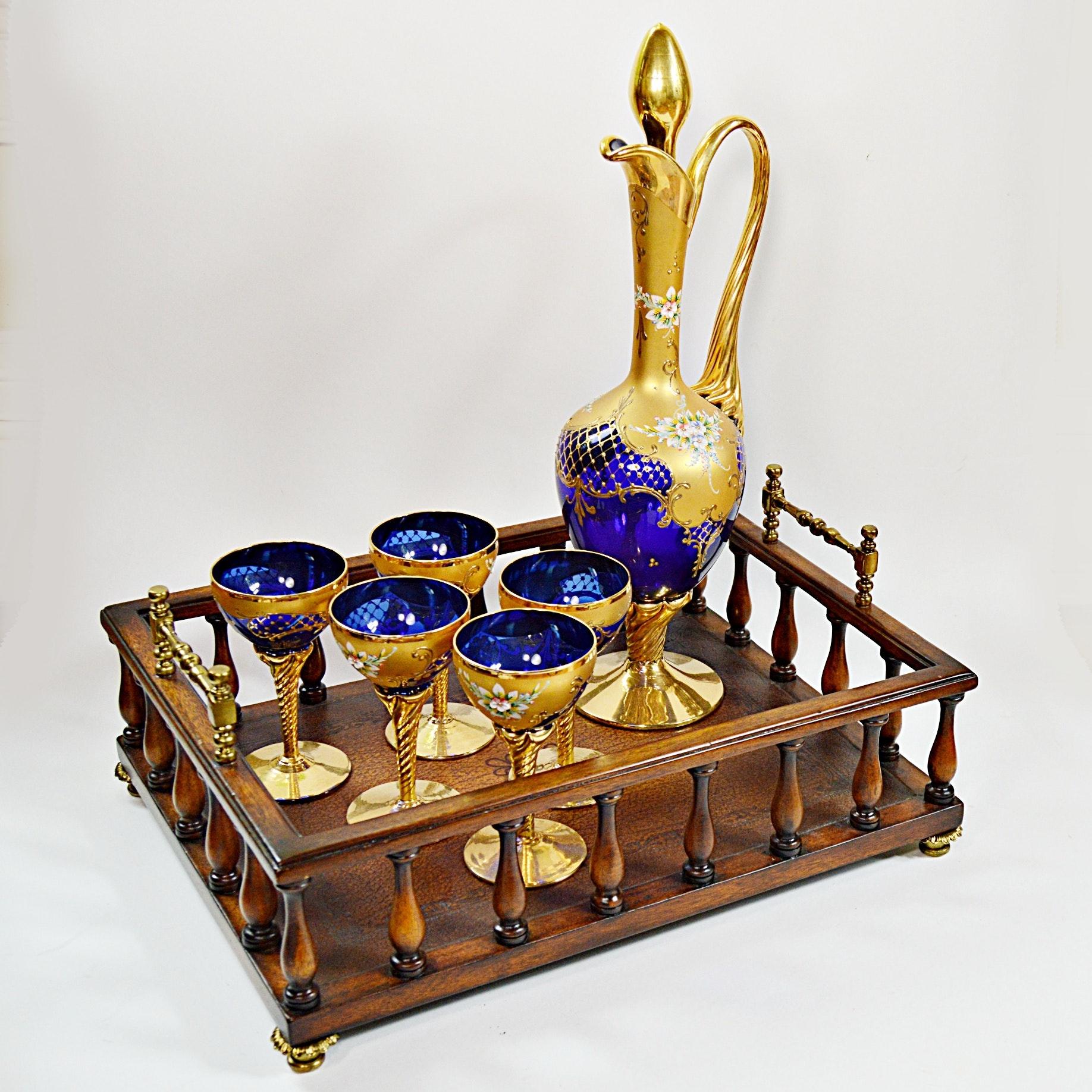 Antique Czech Bohemian Cobalt Blue Glass Cordial Set