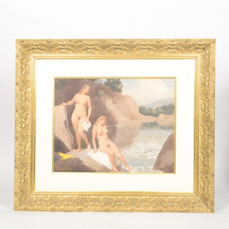 Fermin Rocker Mixed Media Painting on Paper of Nude Bathers