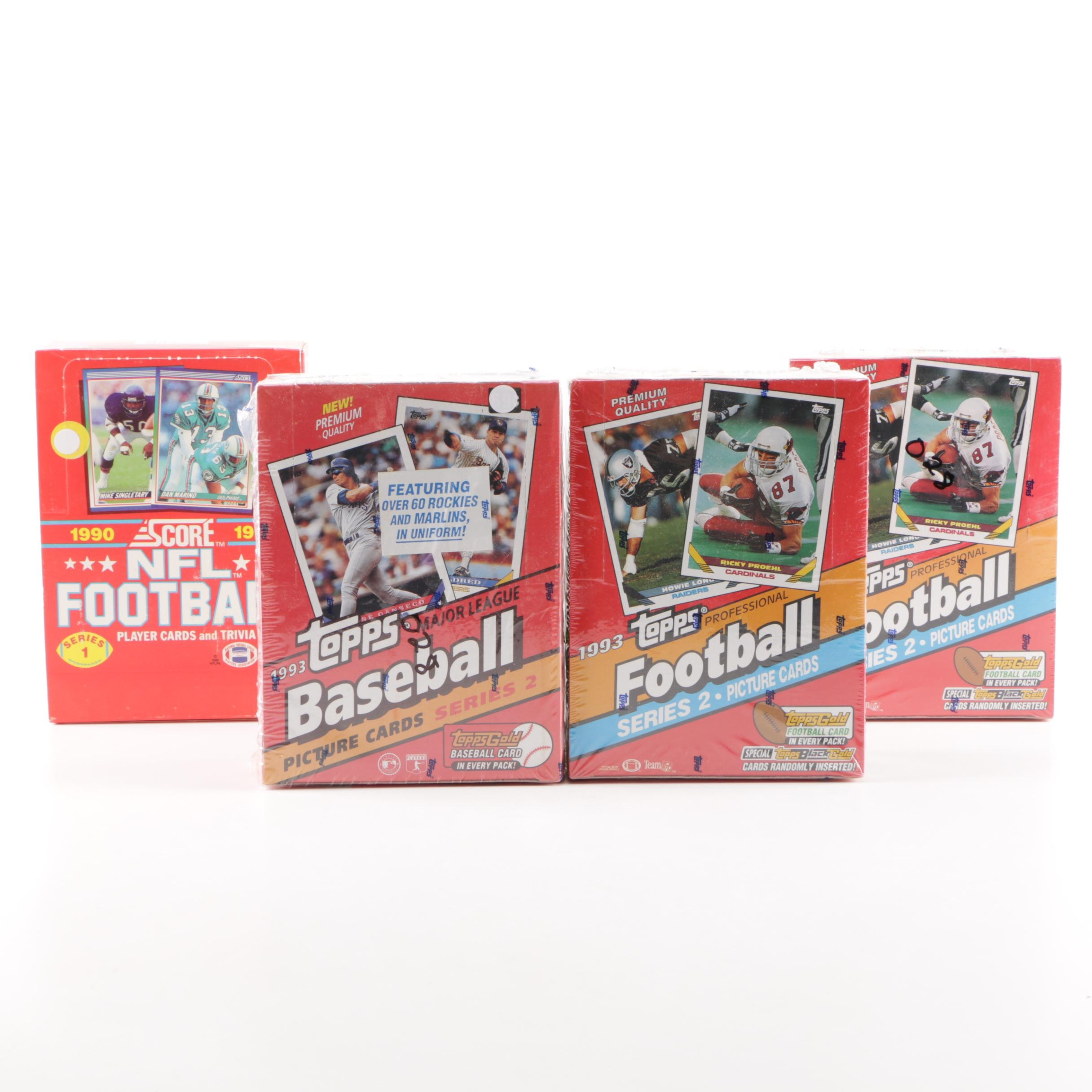 Unopened Football and Baseball Card Retail Boxes