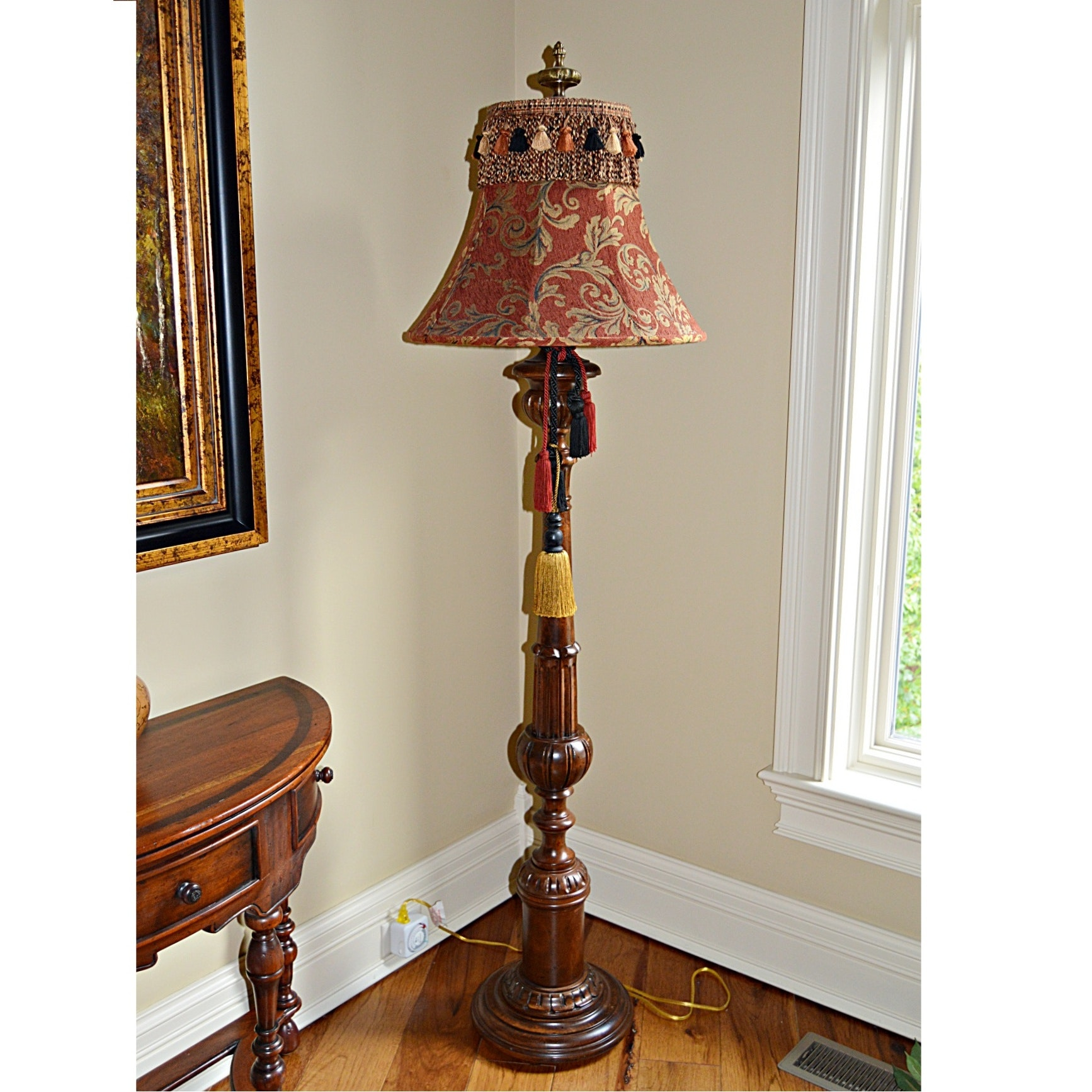 Wooden Floor Lamp with Tapestry Shade