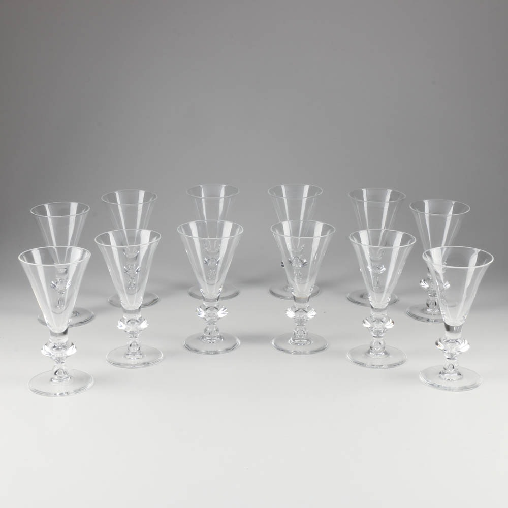 Set of Sixteen Steuben Crystal Water Glasses with Tear Drop