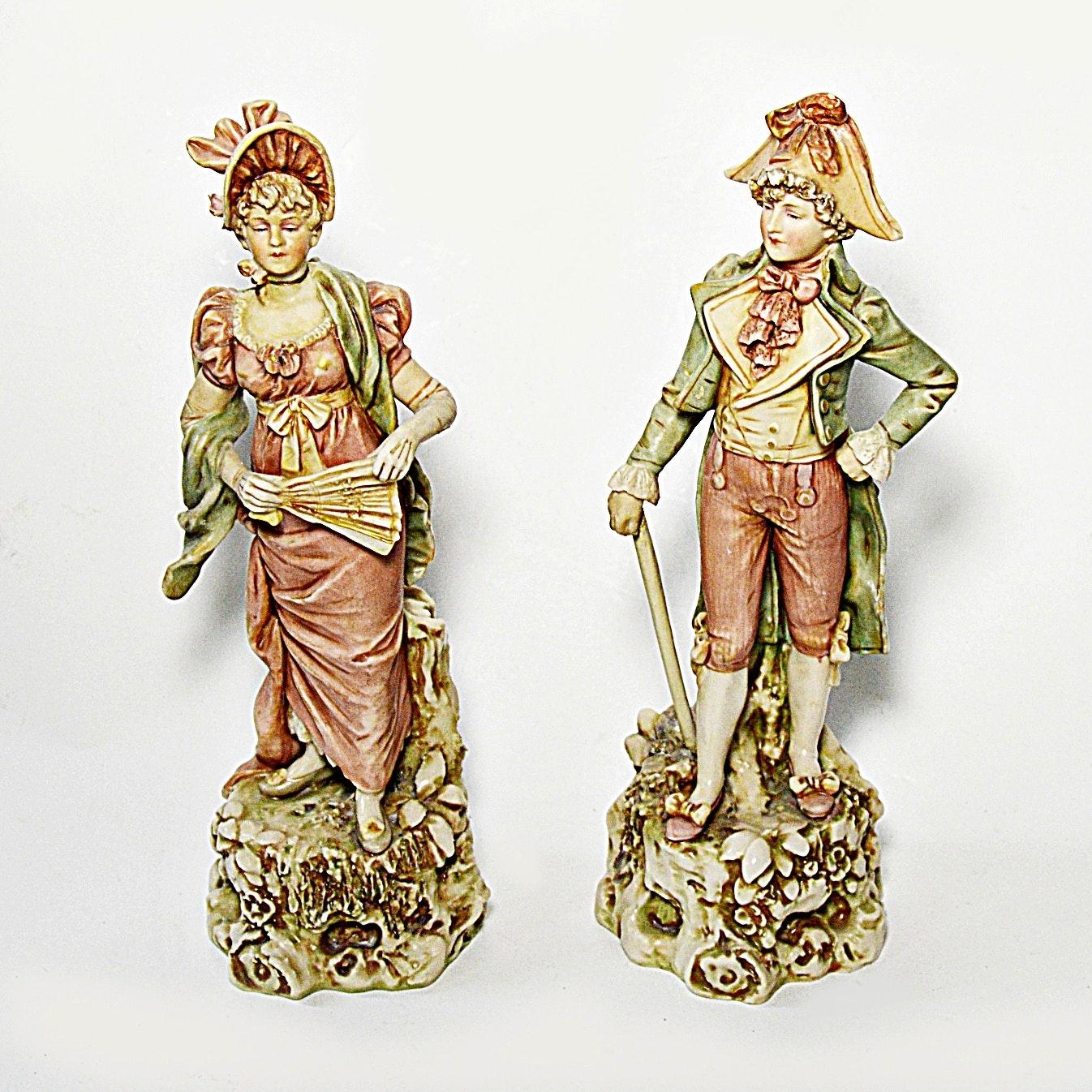 Antique Royal Dux Bohemia Porcelain Figurines