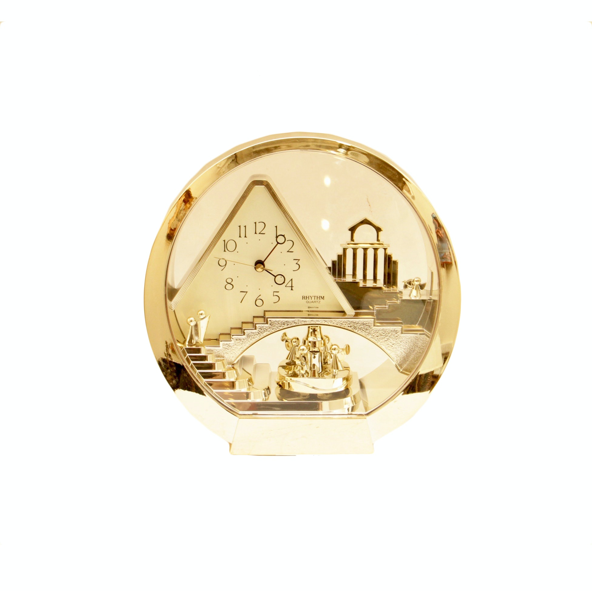 Circular Gold Toned Rhythm Quartz Clock