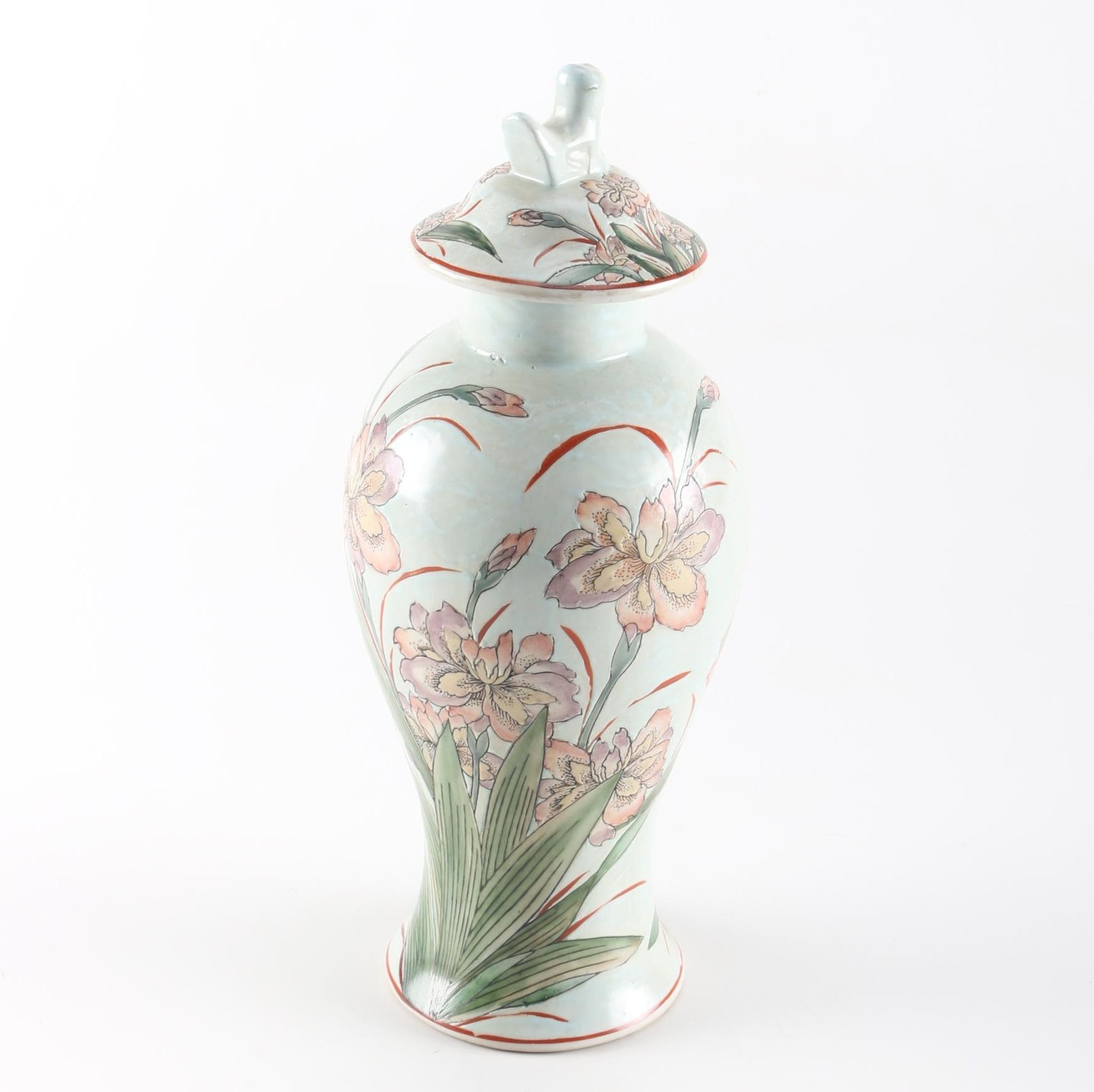 Hand Painted Chinese Urn with Lid