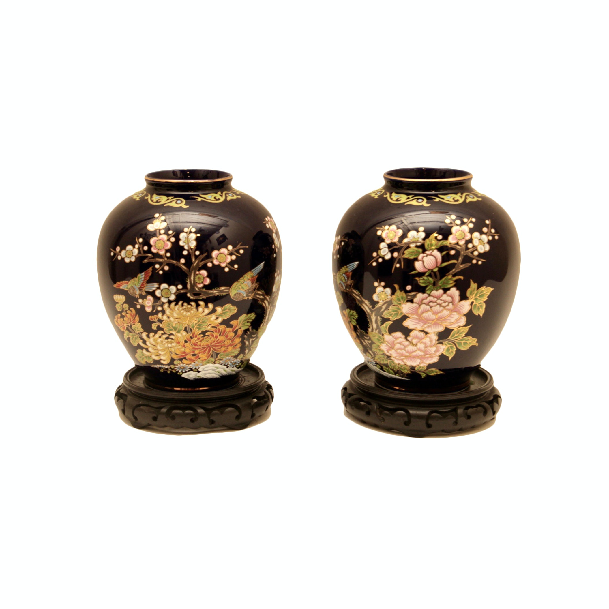 Pair of Japanese Hand Painted Glazed Ceramic Vases