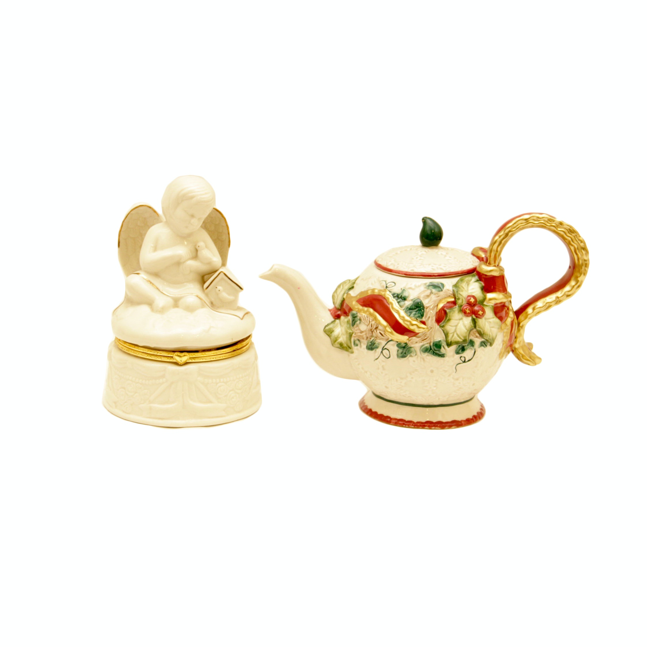 Fitz and Floyd Holiday Pitcher and Angel Music Box