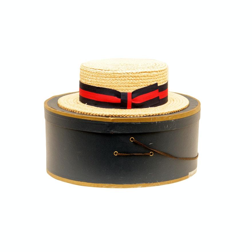 7d166660cea Brooks Bros. Straw Boater Hat in Original Box   EBTH