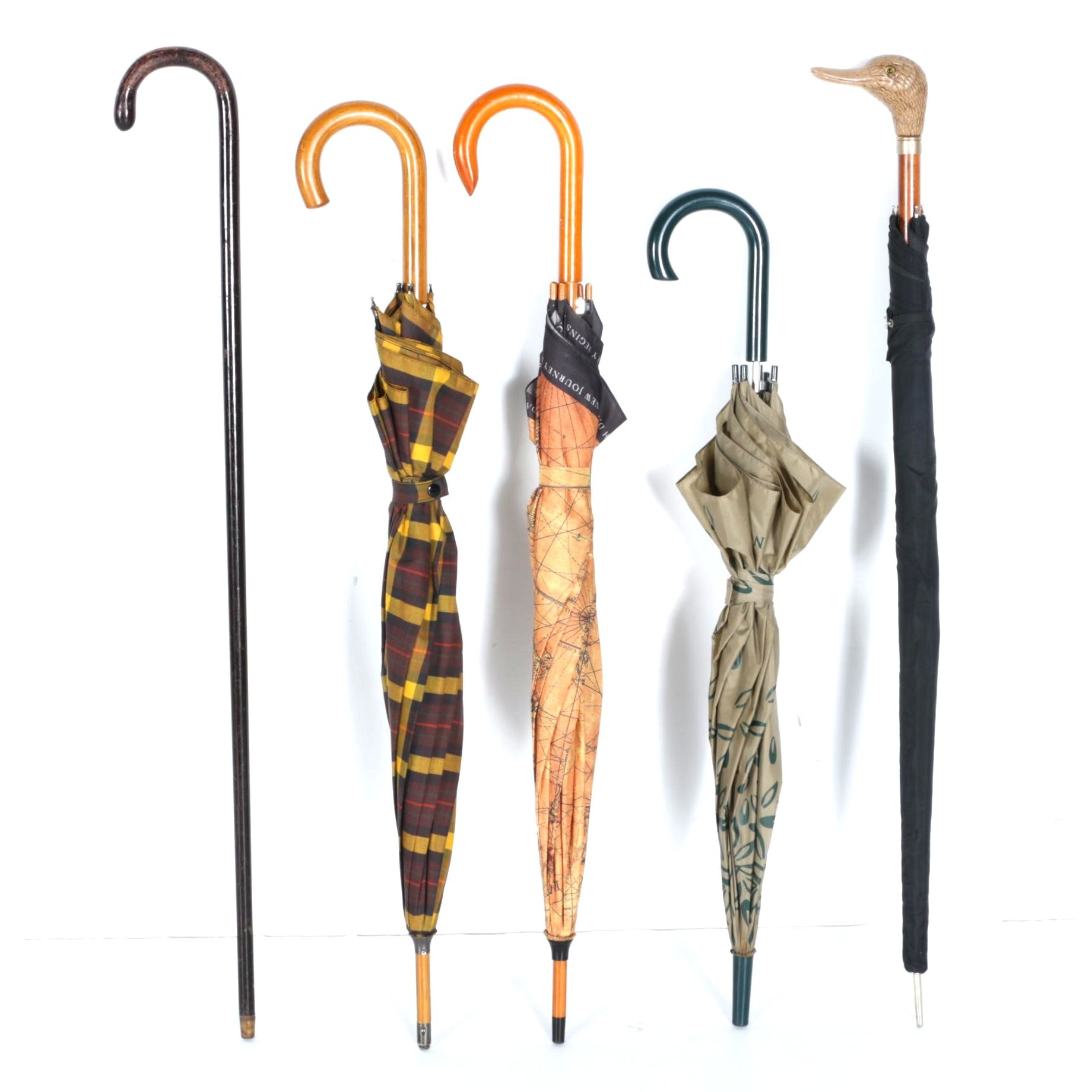 Collection of Vintage Umbrellas and Cane