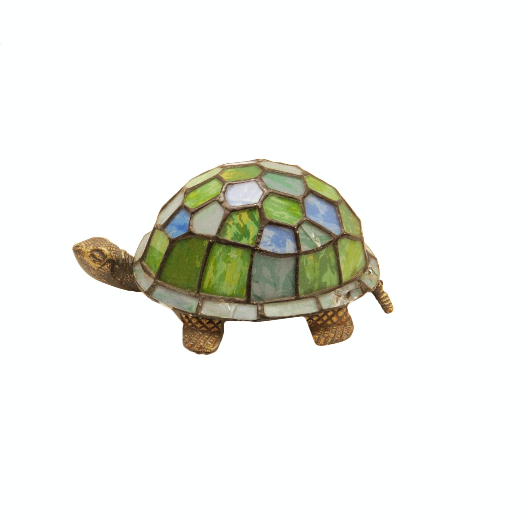 Tiffany Style Plastic Glass Look Turtle Lamp