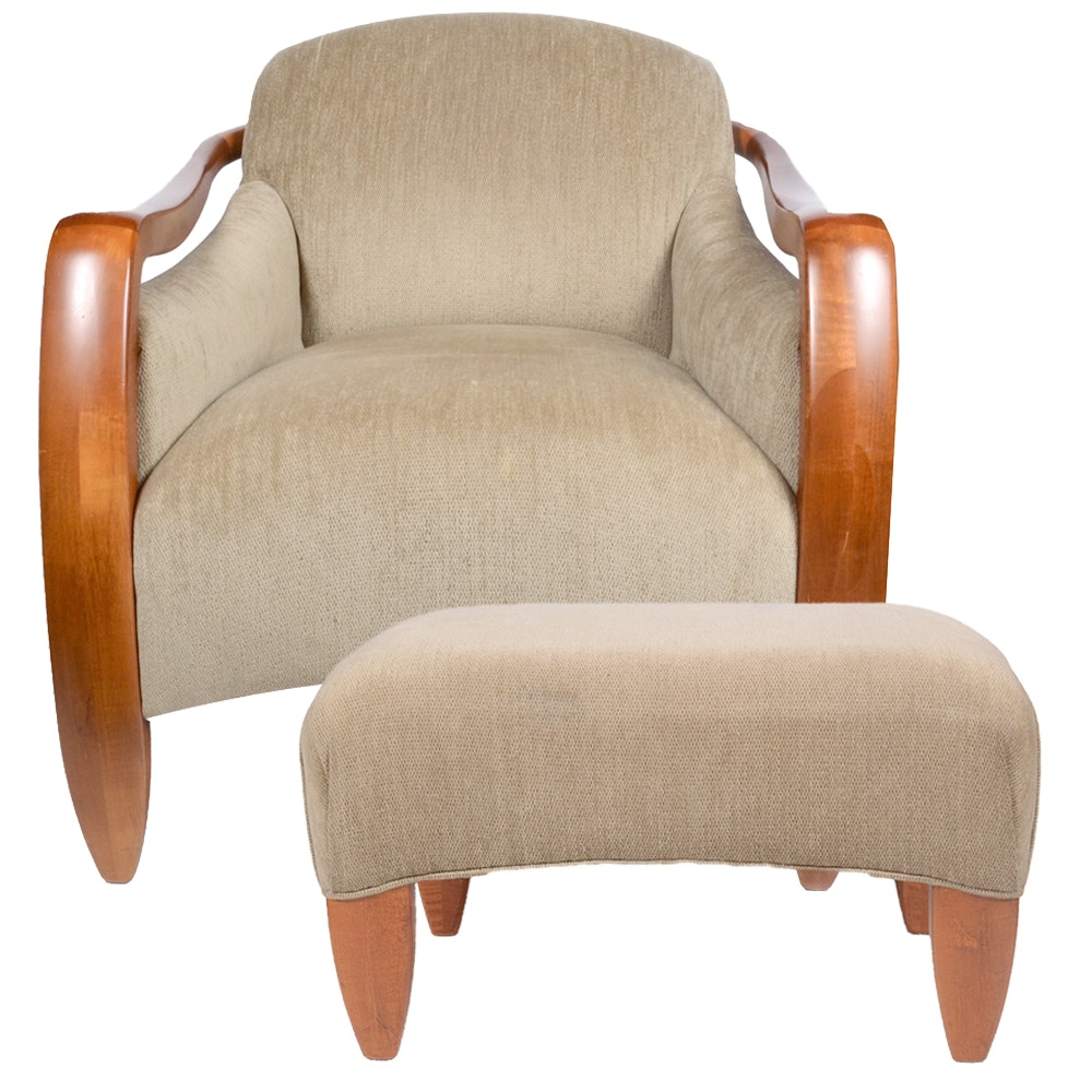 Modern Upholstered Armchair With Ottoman