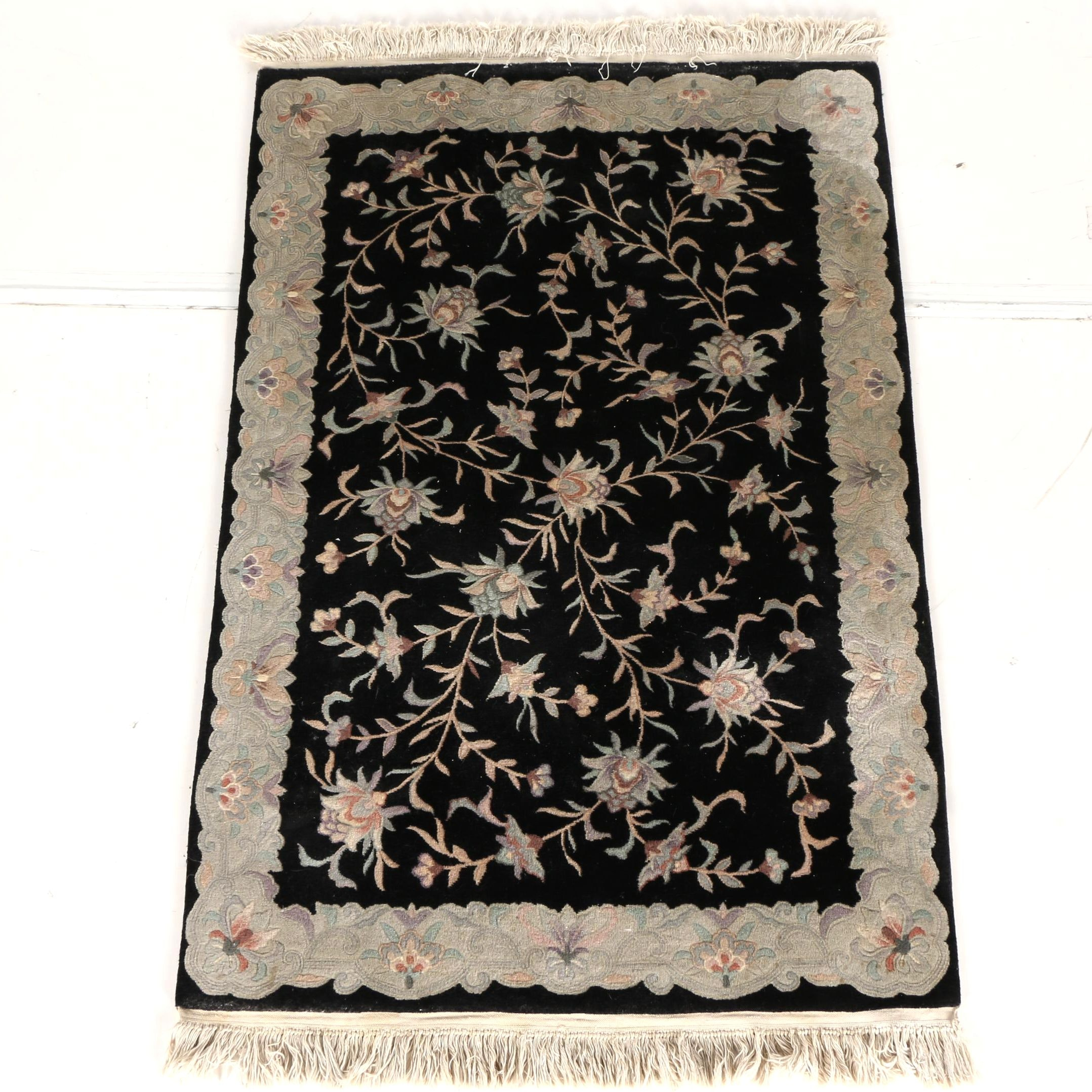Hand-Knotted Chinese Floral Wool Area Rug