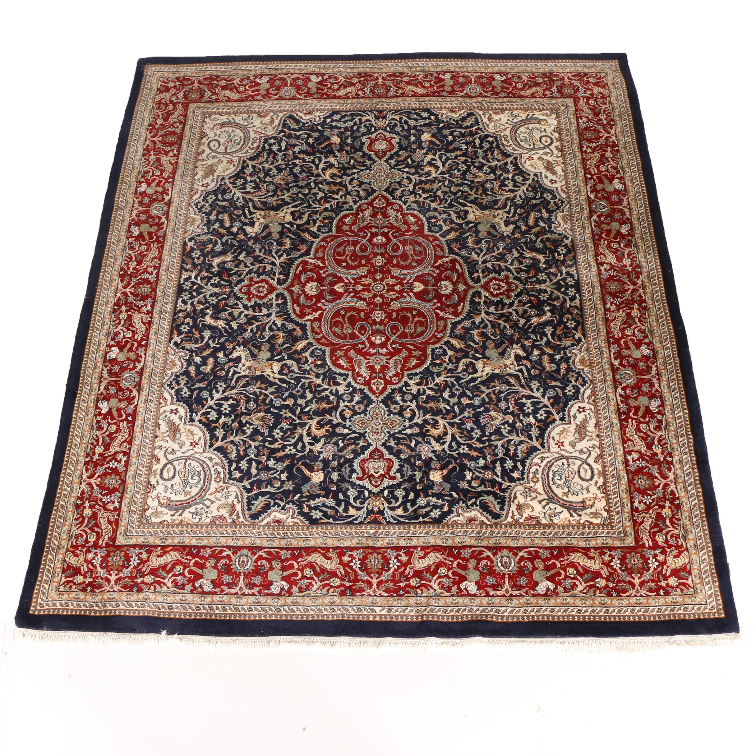 Hand-Knotted Persian Tabriz Hunting Rug