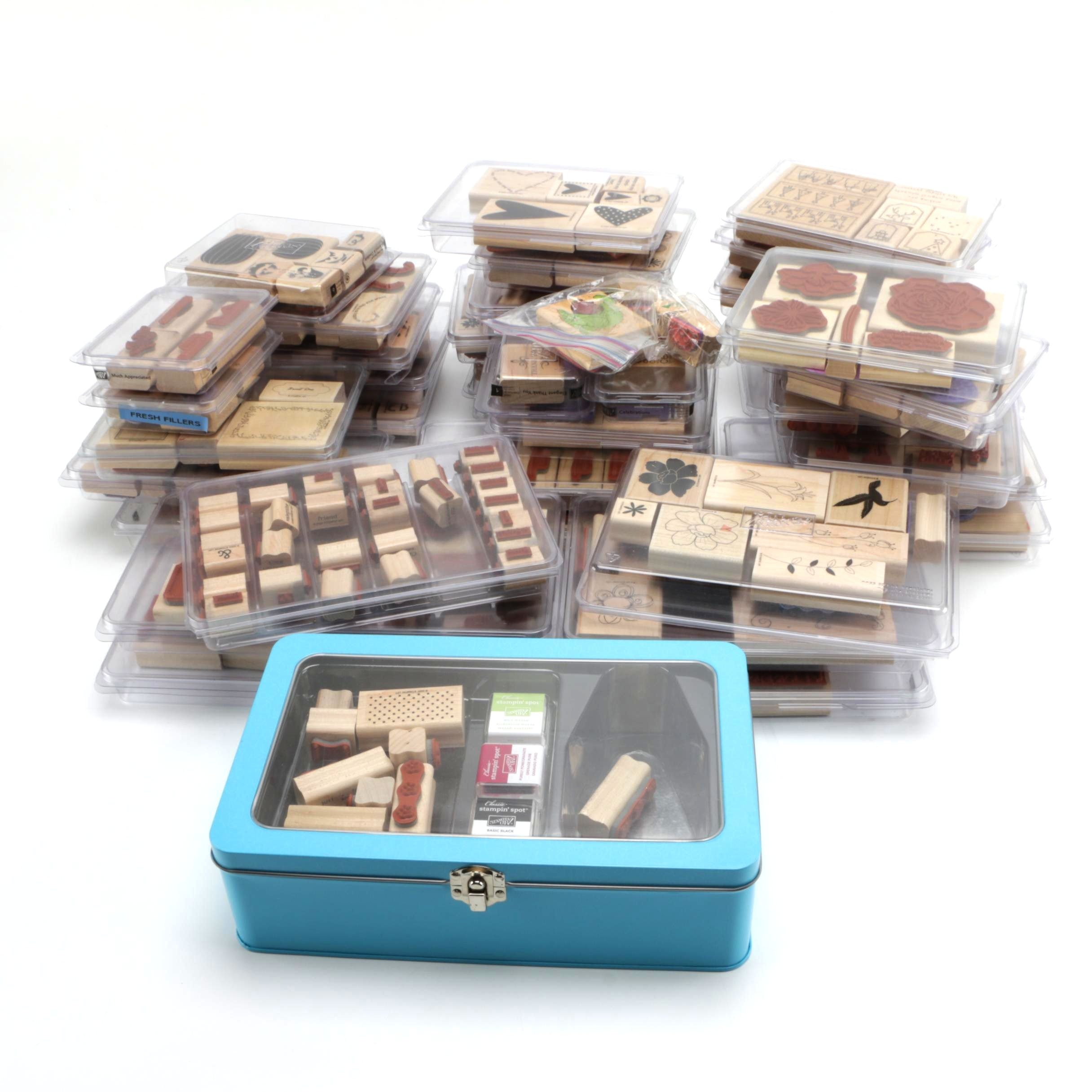 Large Collection of Rubber Stamp Kits and Metal Case