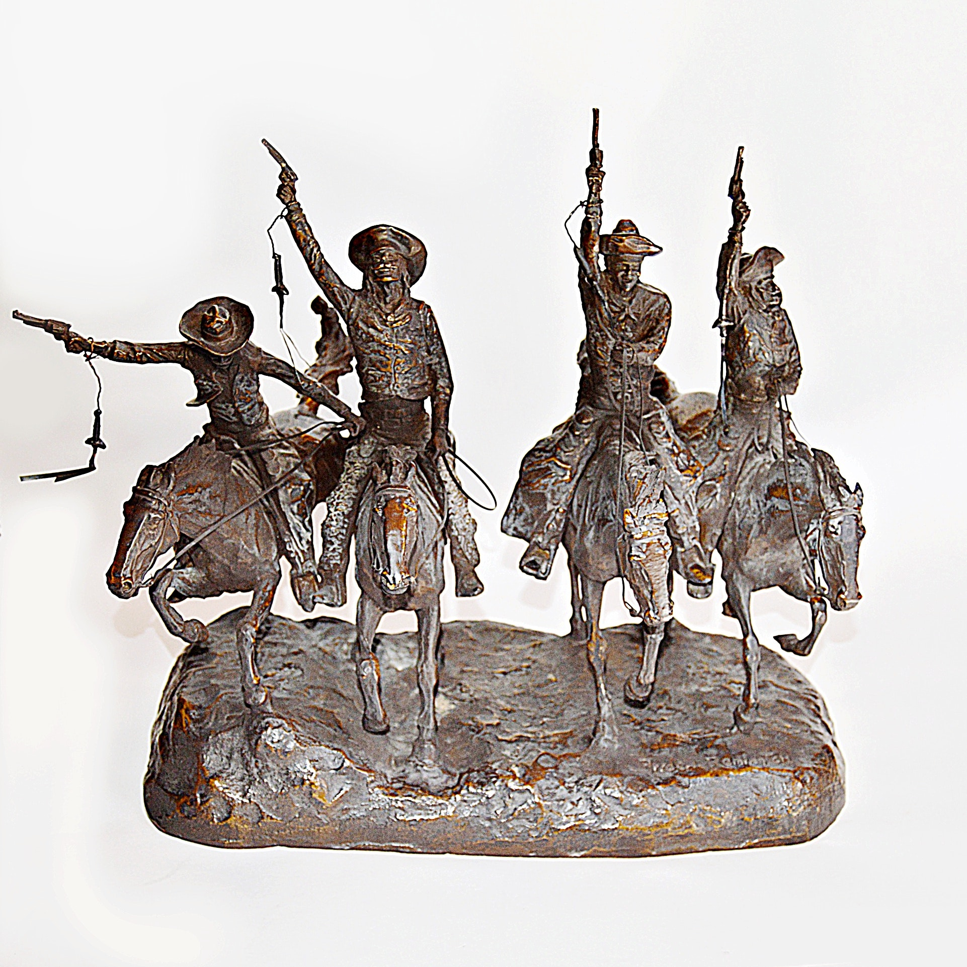 "After Frederic Remington Bronze Sculpture ""Off the Range"""