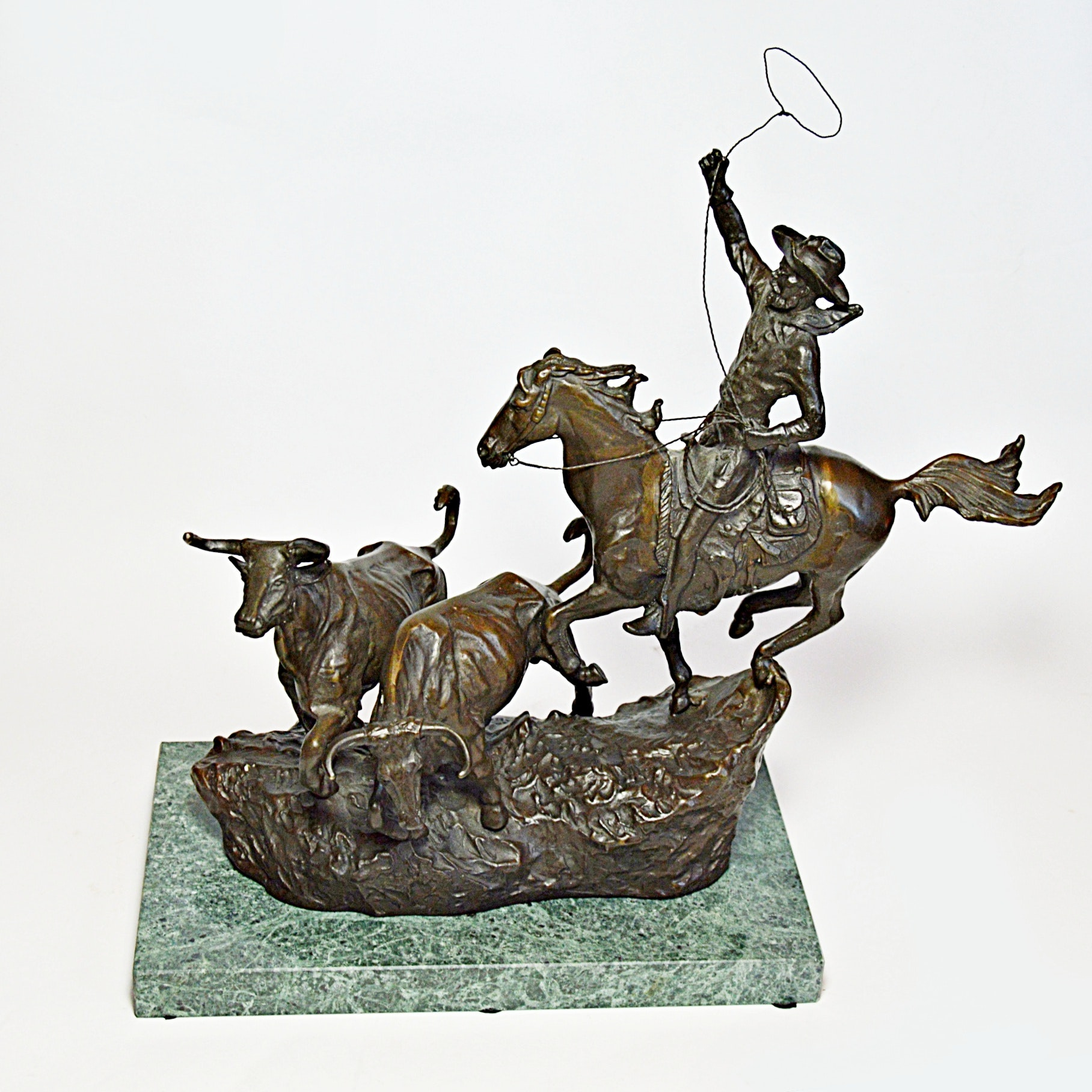 After Charles Russell Bronze Cowboy Sculpture