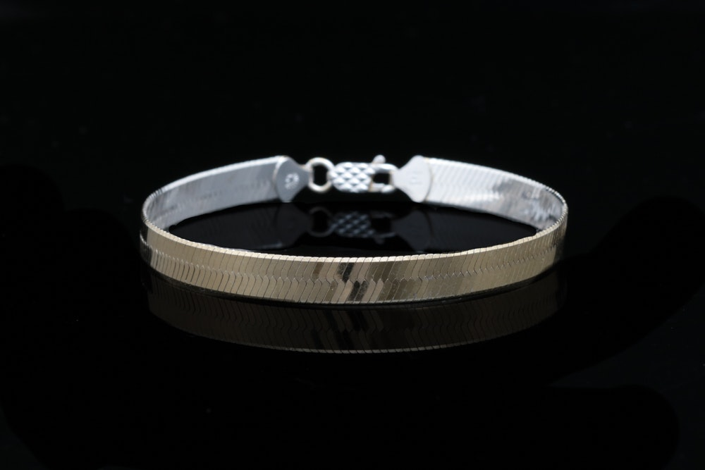 Sterling Silver Herringbone Two-Tone Bracelet