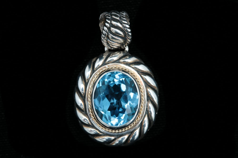Robert Manse Sterling Silver, 18K Gold, and Blue Topaz Pendant