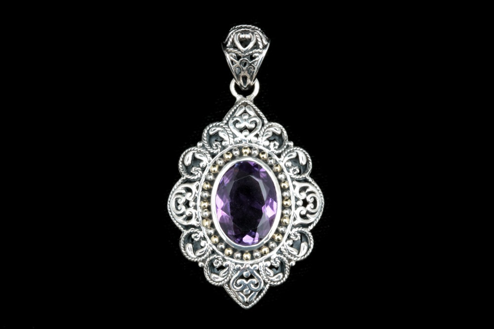 Robert Manse Sterling Silver, 18K Gold and Amethyst Pendant