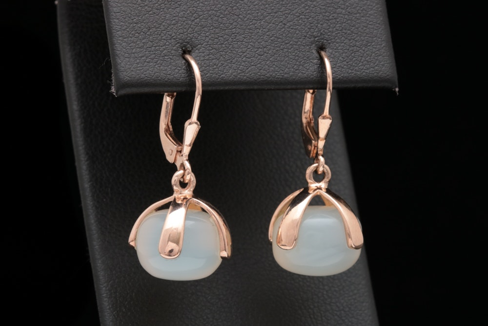Vermeil and White Jade Dangle Earrings