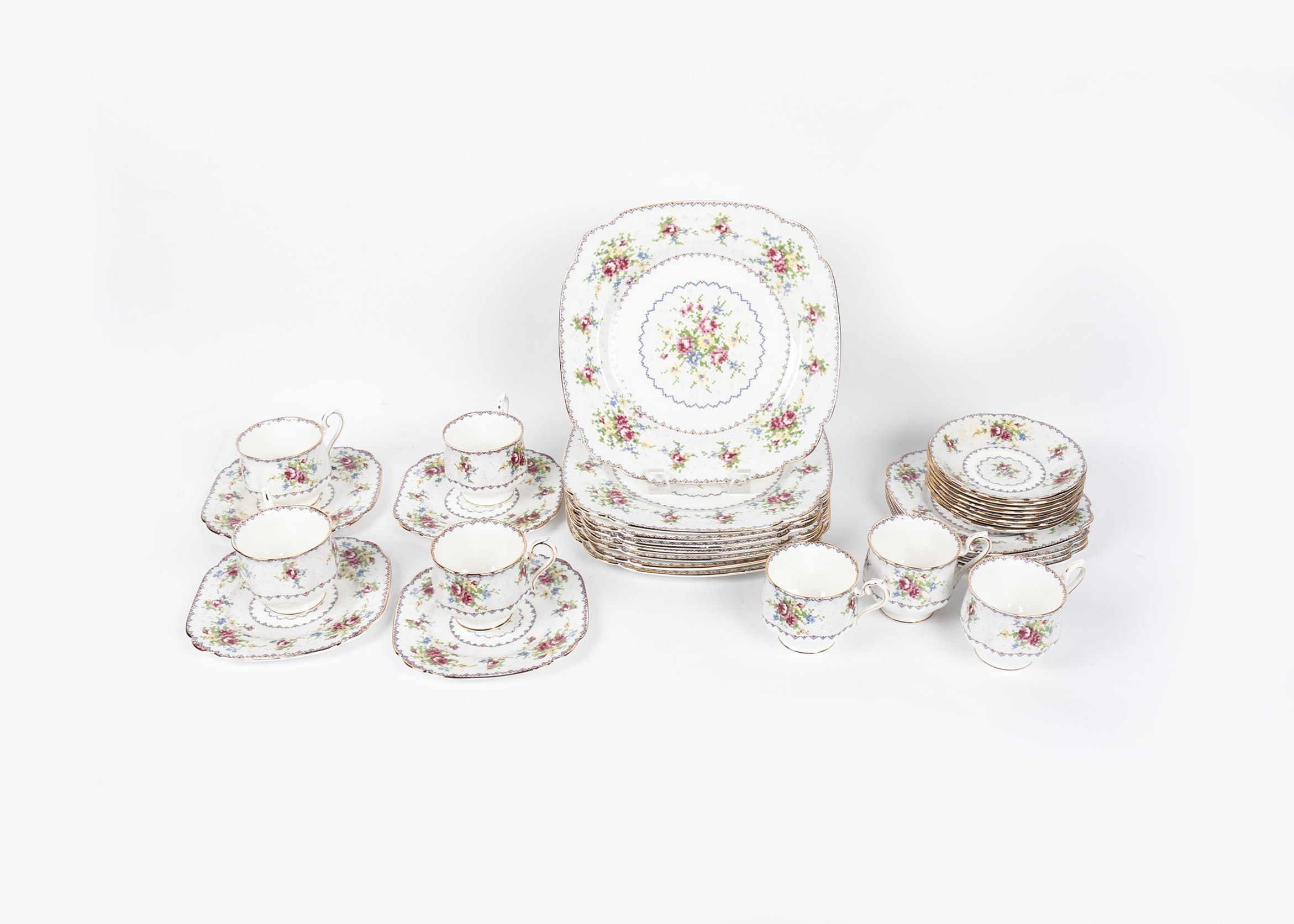 "Set of Royal Albert Bone China in ""Petite Point"""