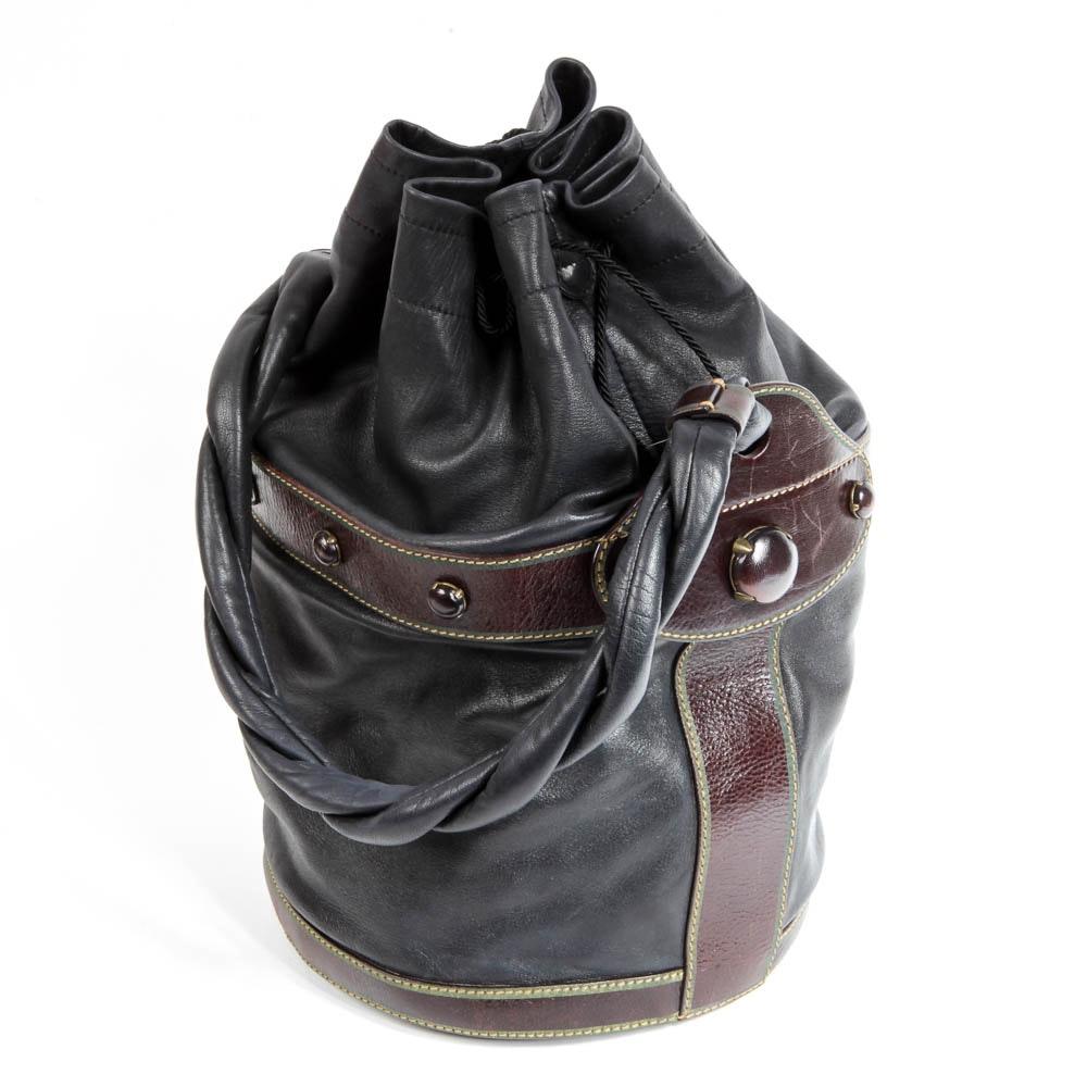 Fendi Leather Palazzo Drawstring Bucket Bag