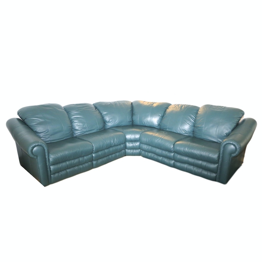 Hunter Green Bicast Leather Sectional Sofa : EBTH