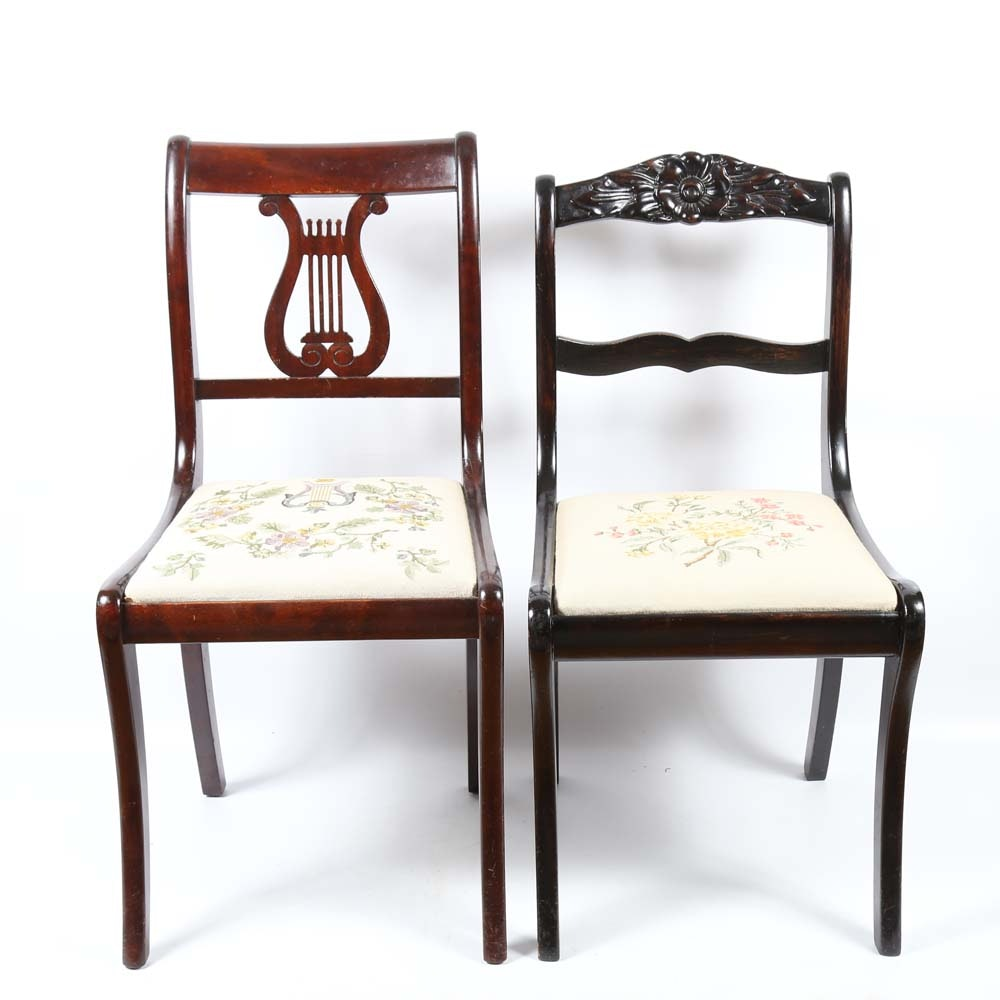 Two Accent Chairs with Needlepoint Seats