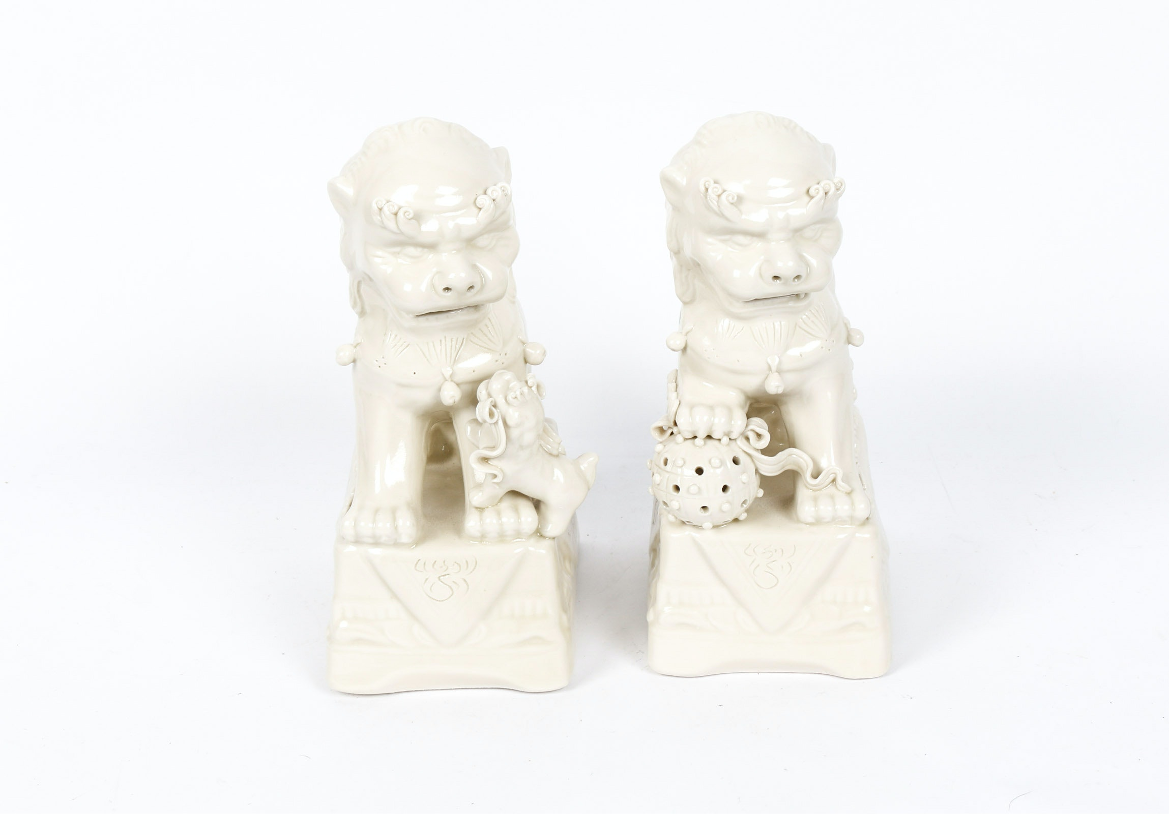 White Glazed Ceramic Guardian Lions